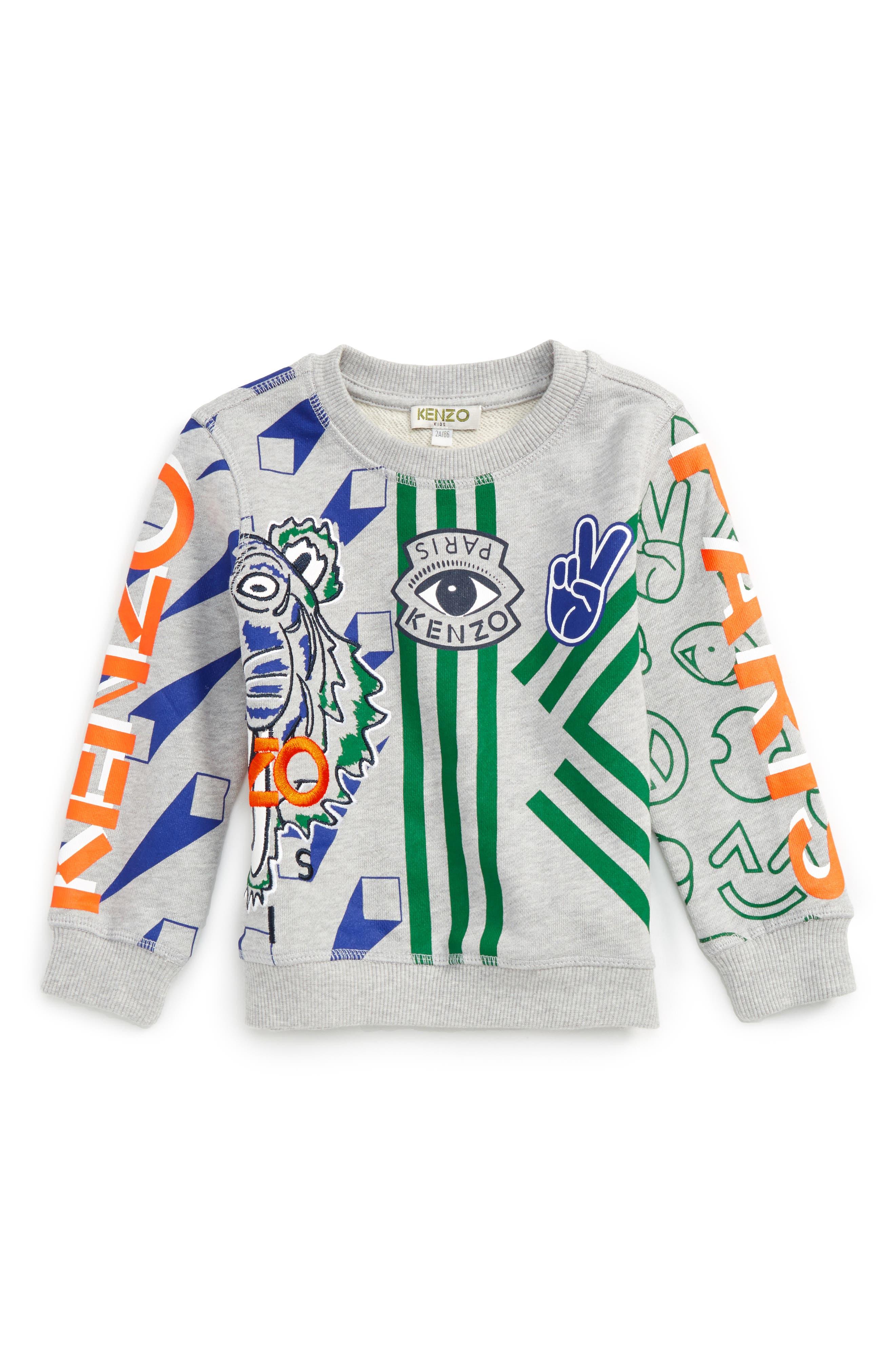 Tiger Sweatshirt,                             Main thumbnail 1, color,                             Light Grey Chine