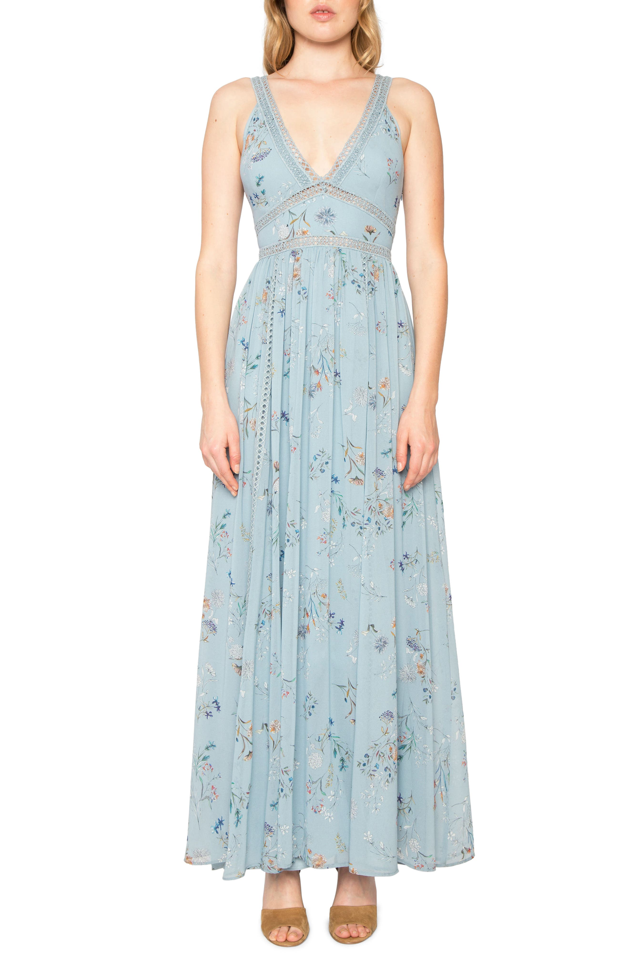 Floral Print Maxi Dress,                         Main,                         color, French Blue