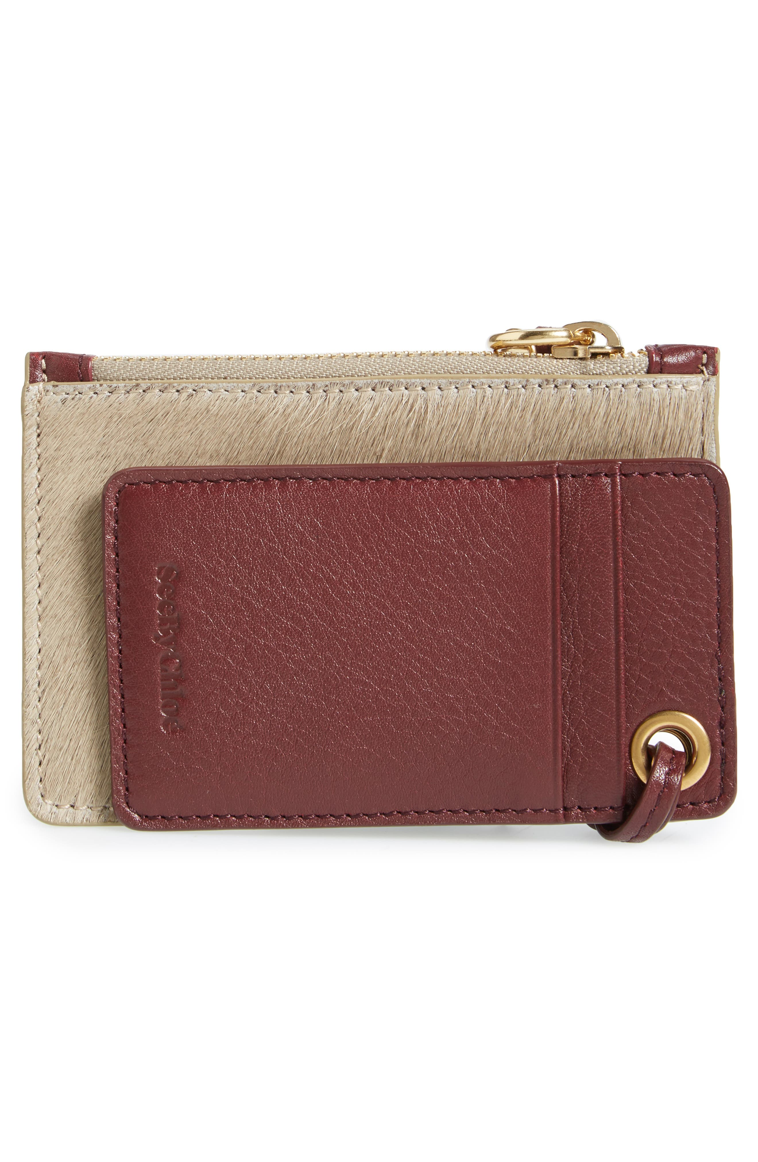 Alternate Image 2  - See by Chloé Genuine Calf Hair Passport Holder & Leather Card Case