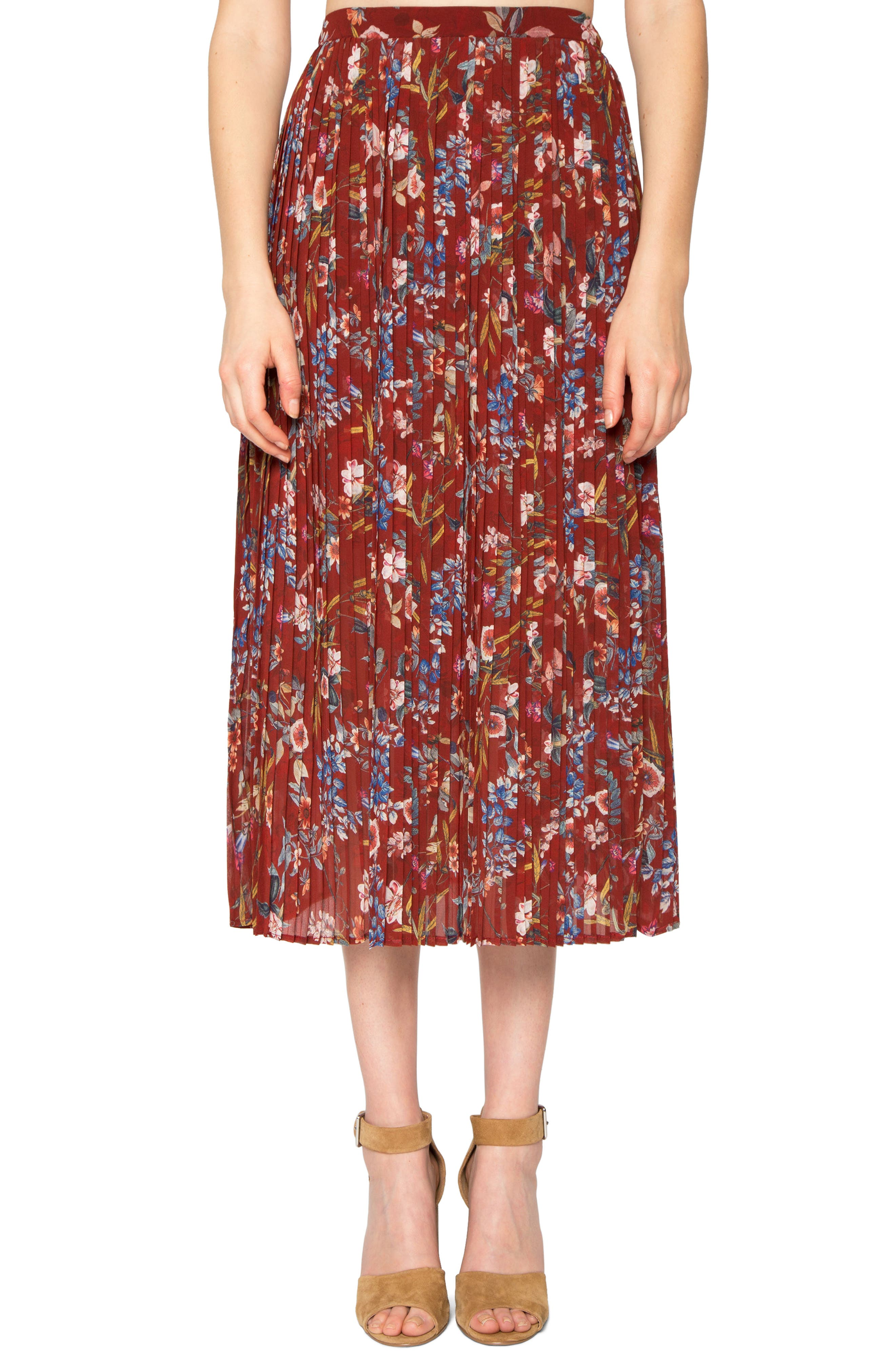 Pleated Print Skirt,                         Main,                         color, Deep Red