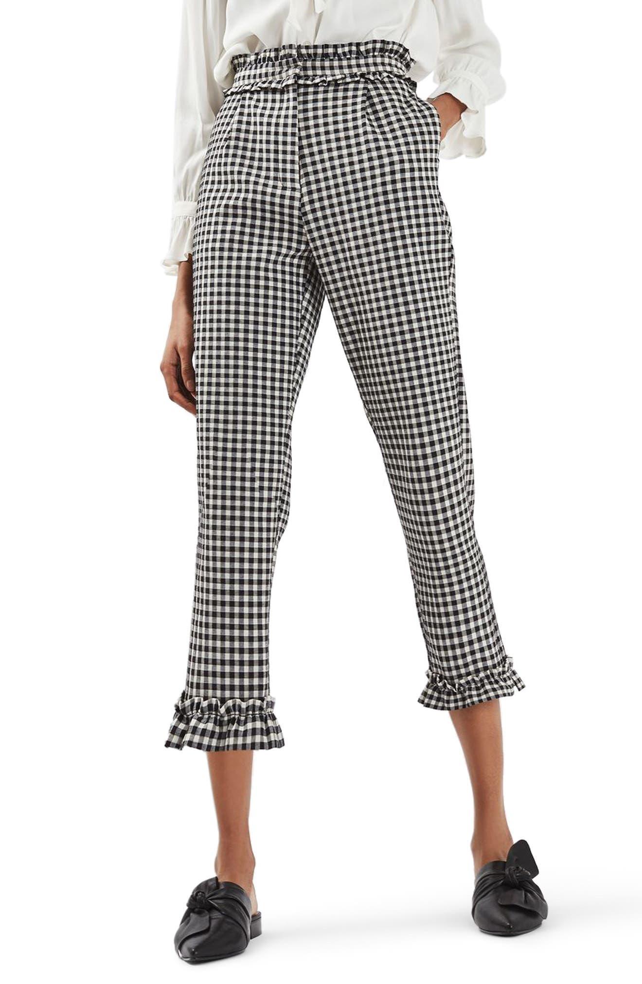Gingham Ruffle Trousers,                         Main,                         color, Black Multi
