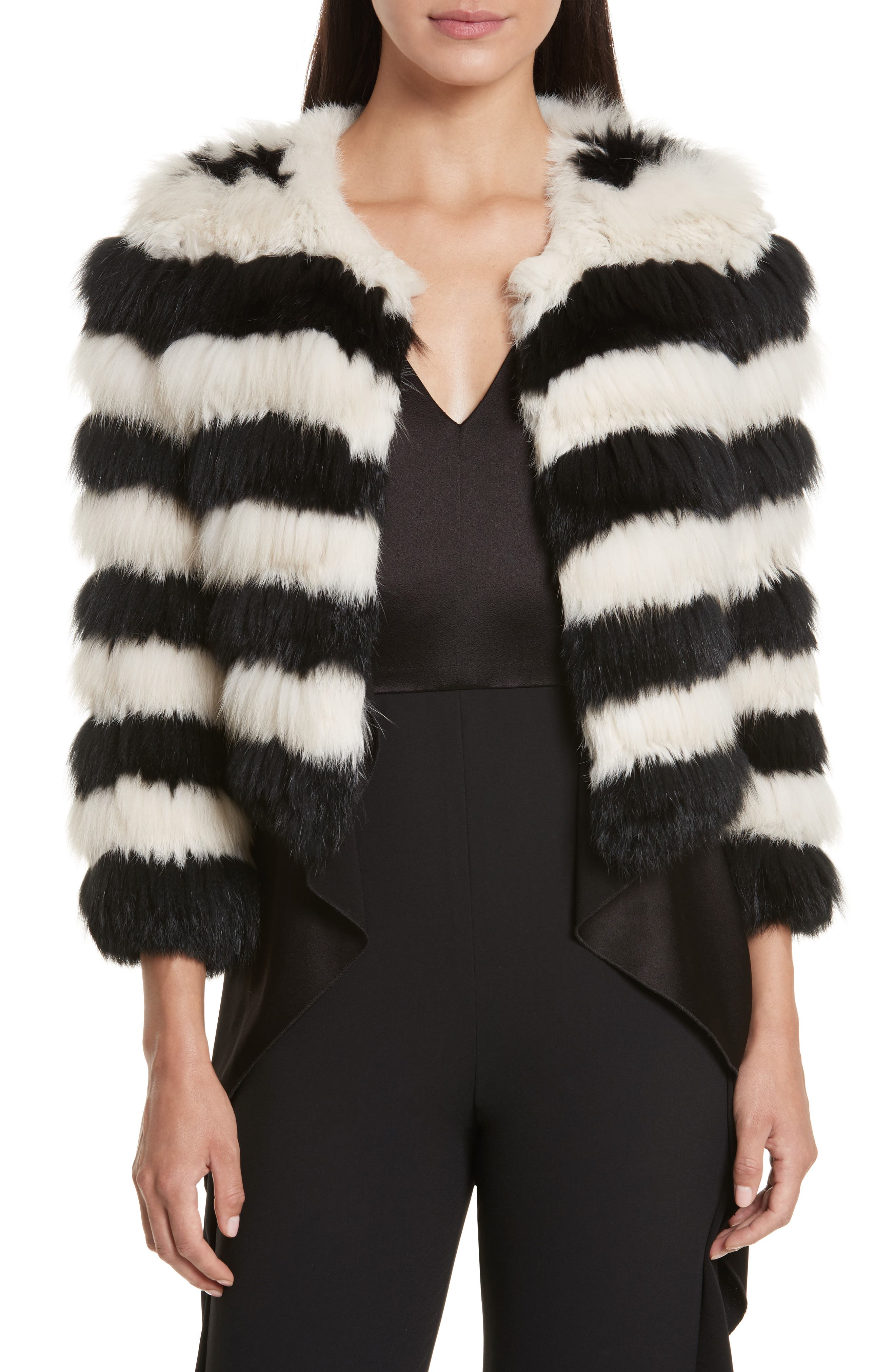 Alice + Olivia Fawn Stripe Genuine Rabbit & Fox Fur Jacket