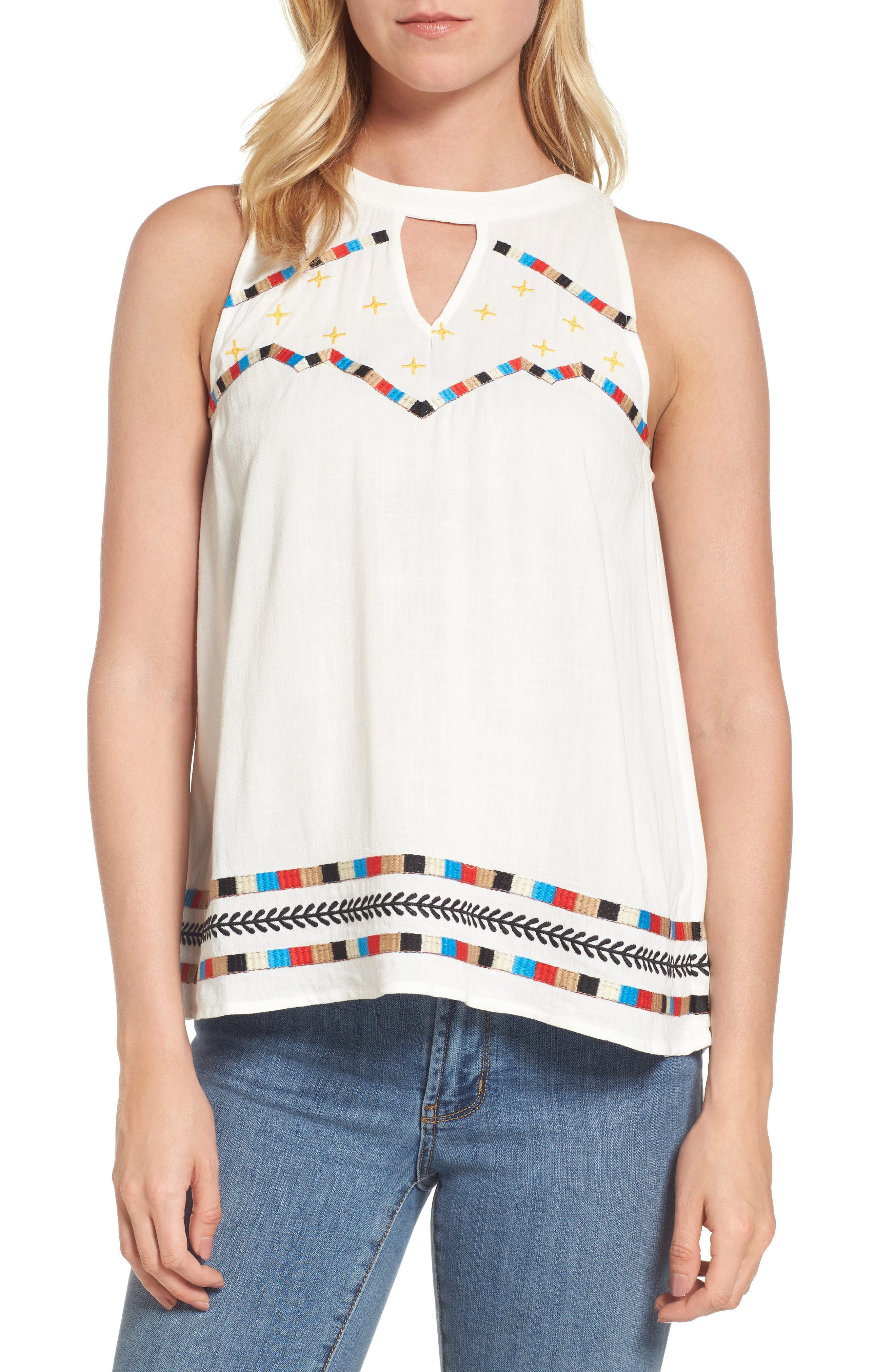 THML Embroidered Keyhole Blouse