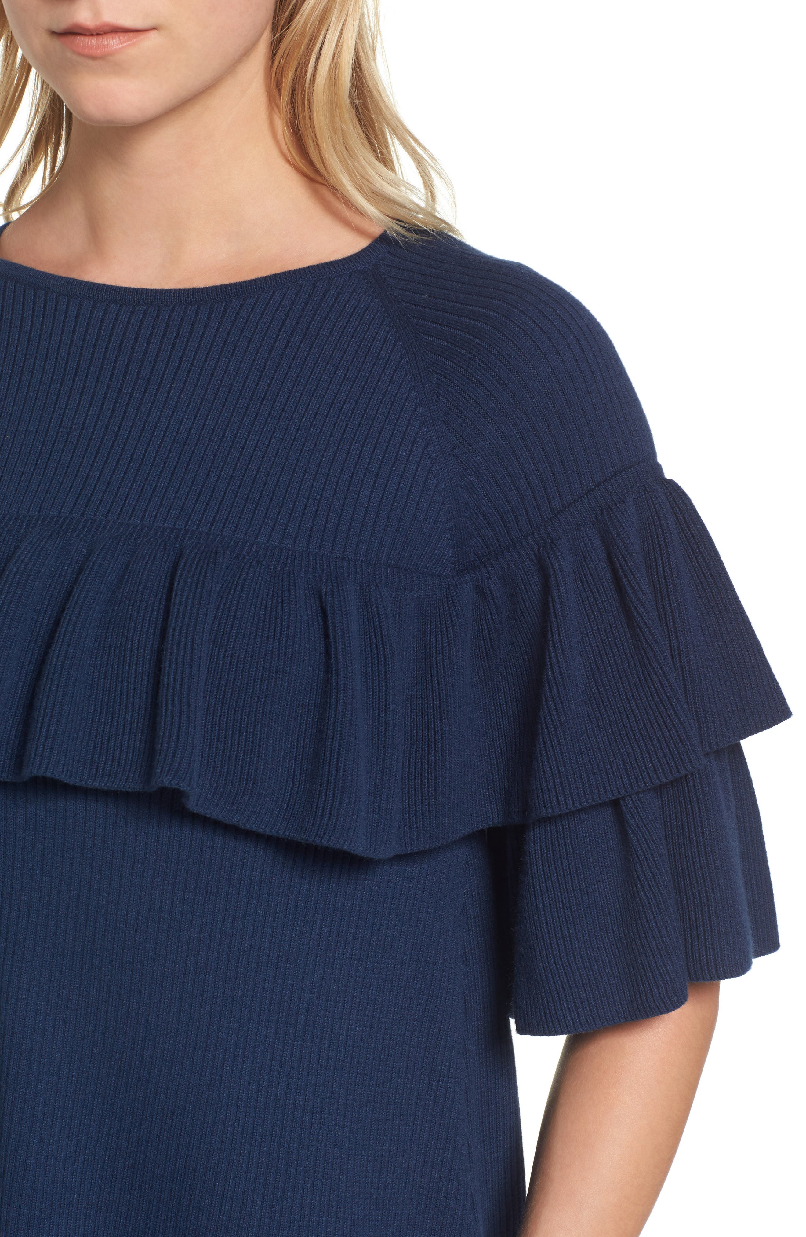 Ribbed Ruffle Sweater,                             Alternate thumbnail 4, color,                             Deep Bay