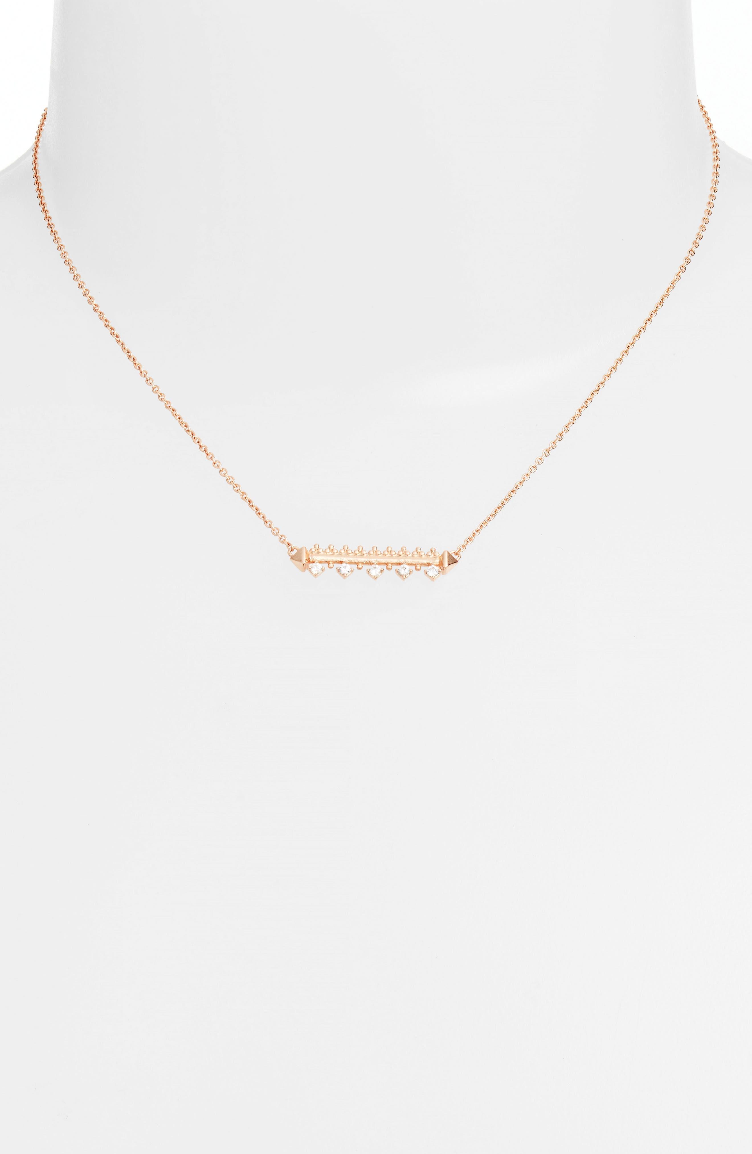 Anissa Bar Pendant Necklace,                             Main thumbnail 1, color,                             Rose Gold