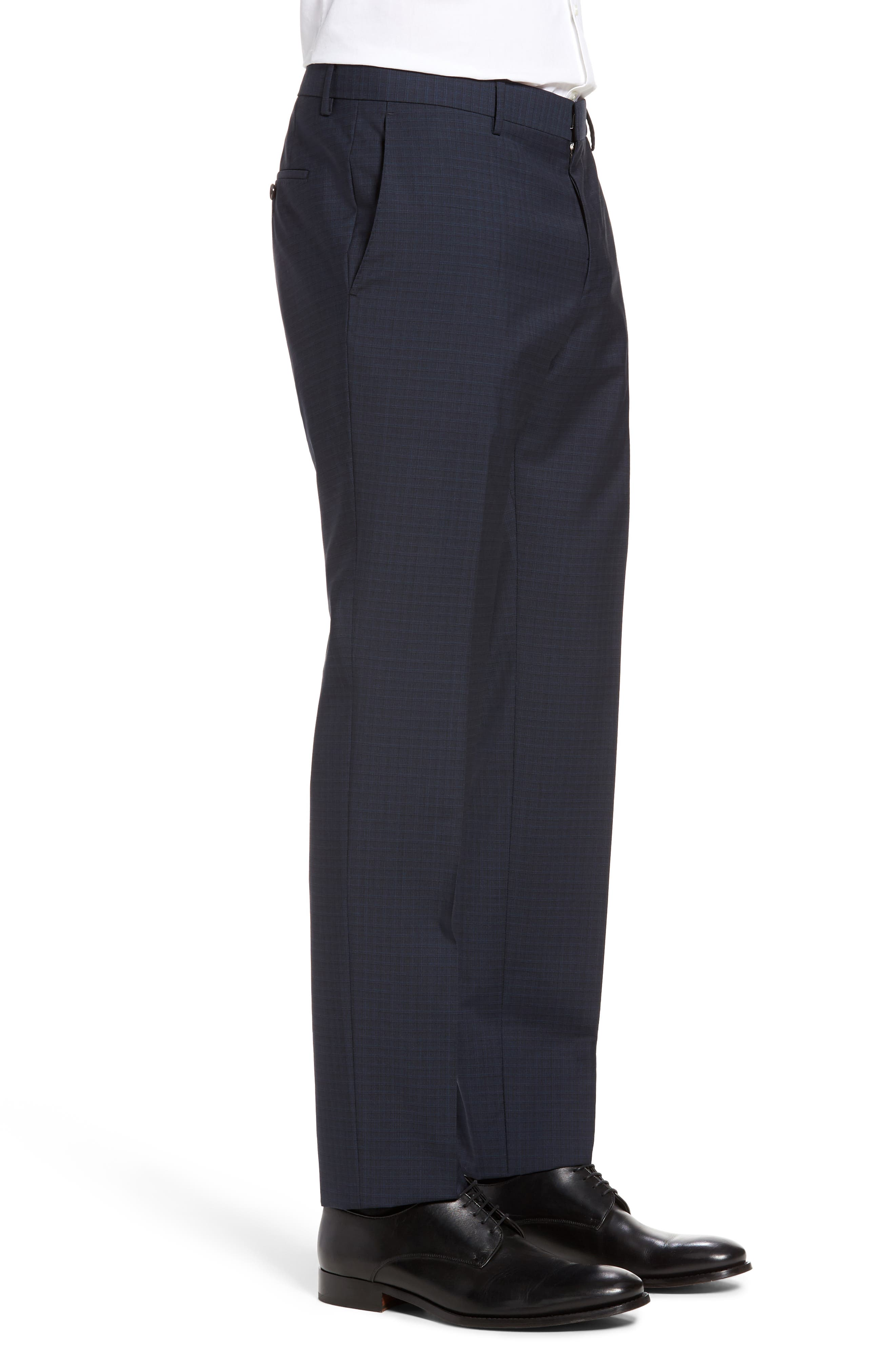 Benso Flat Front Check Wool Trousers,                             Alternate thumbnail 4, color,                             Navy
