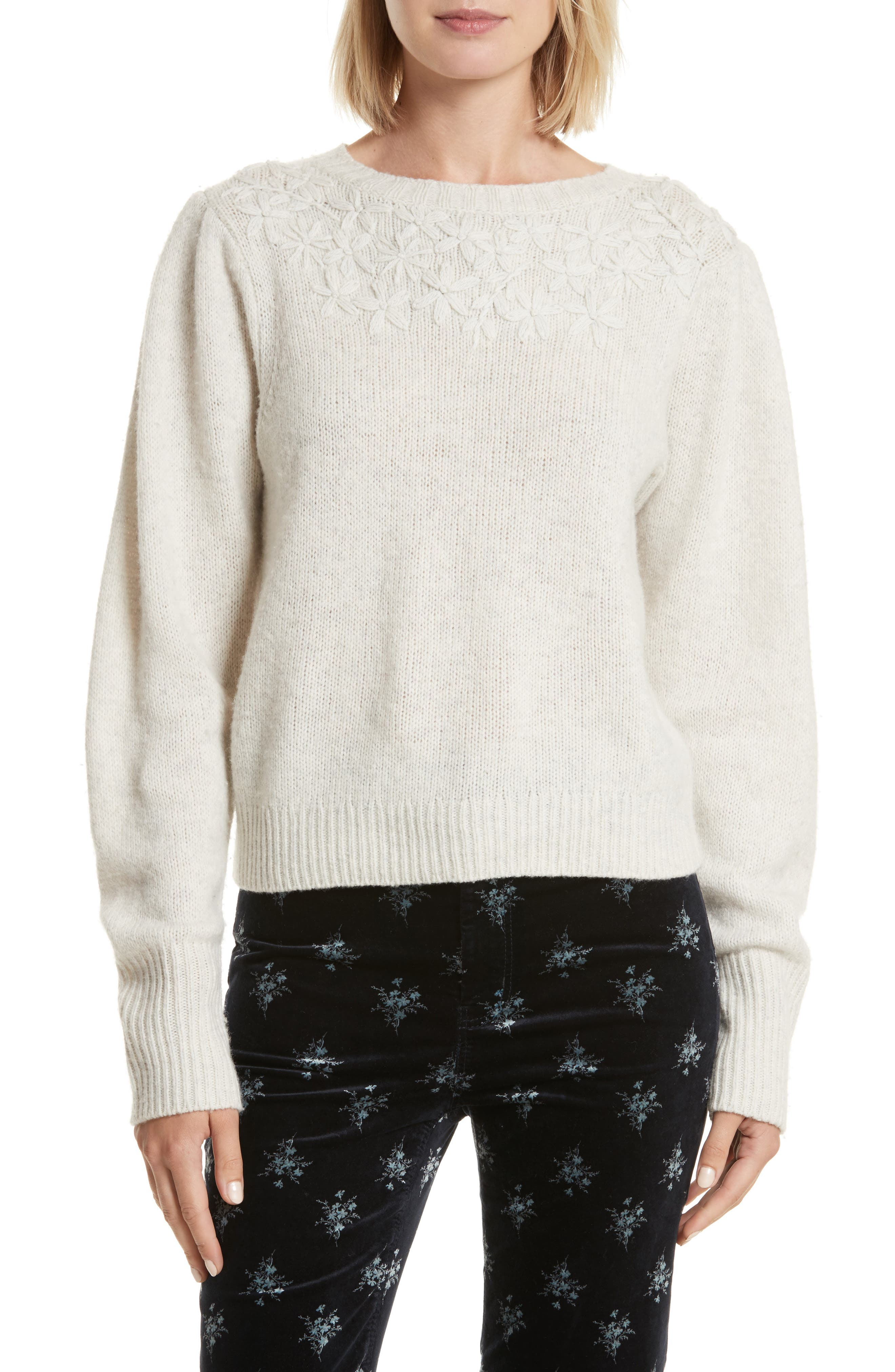 Floral Embroidered Pullover,                         Main,                         color, Opaline Heather