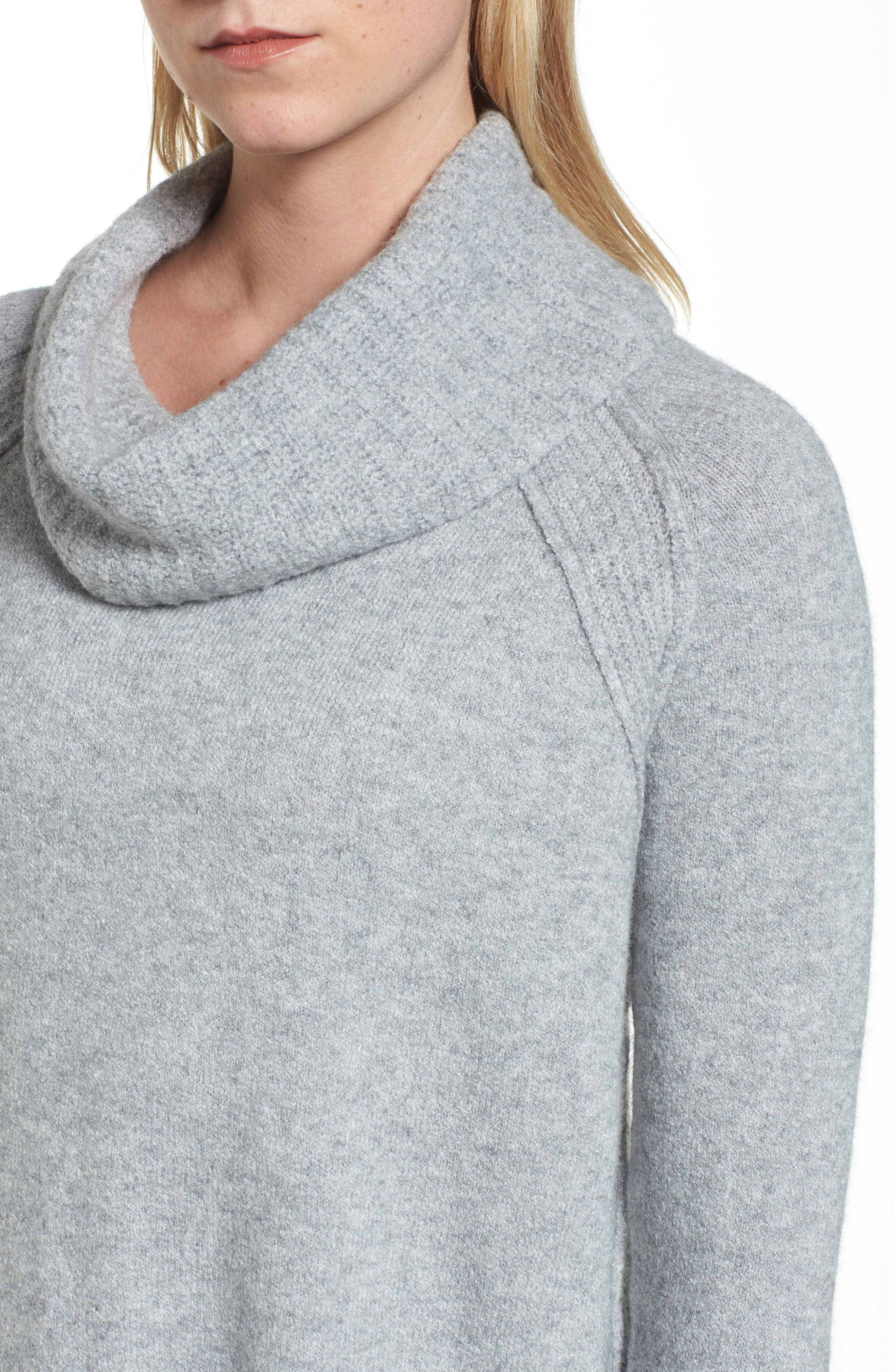 Cowl Neck Sweater,                             Alternate thumbnail 4, color,                             Grey Heather