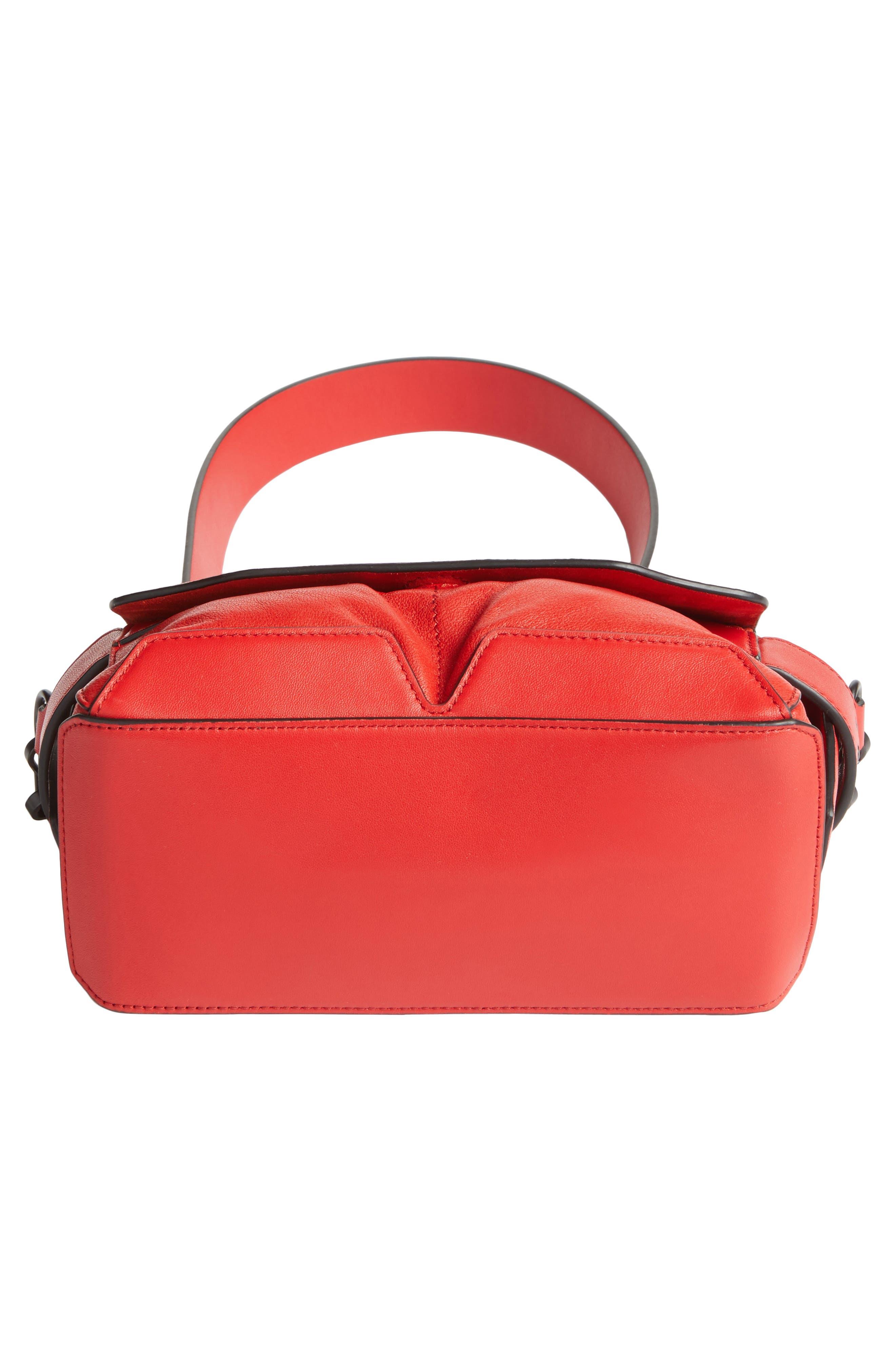 Micro Pilot Leather Satchel,                             Alternate thumbnail 5, color,                             Royal Red