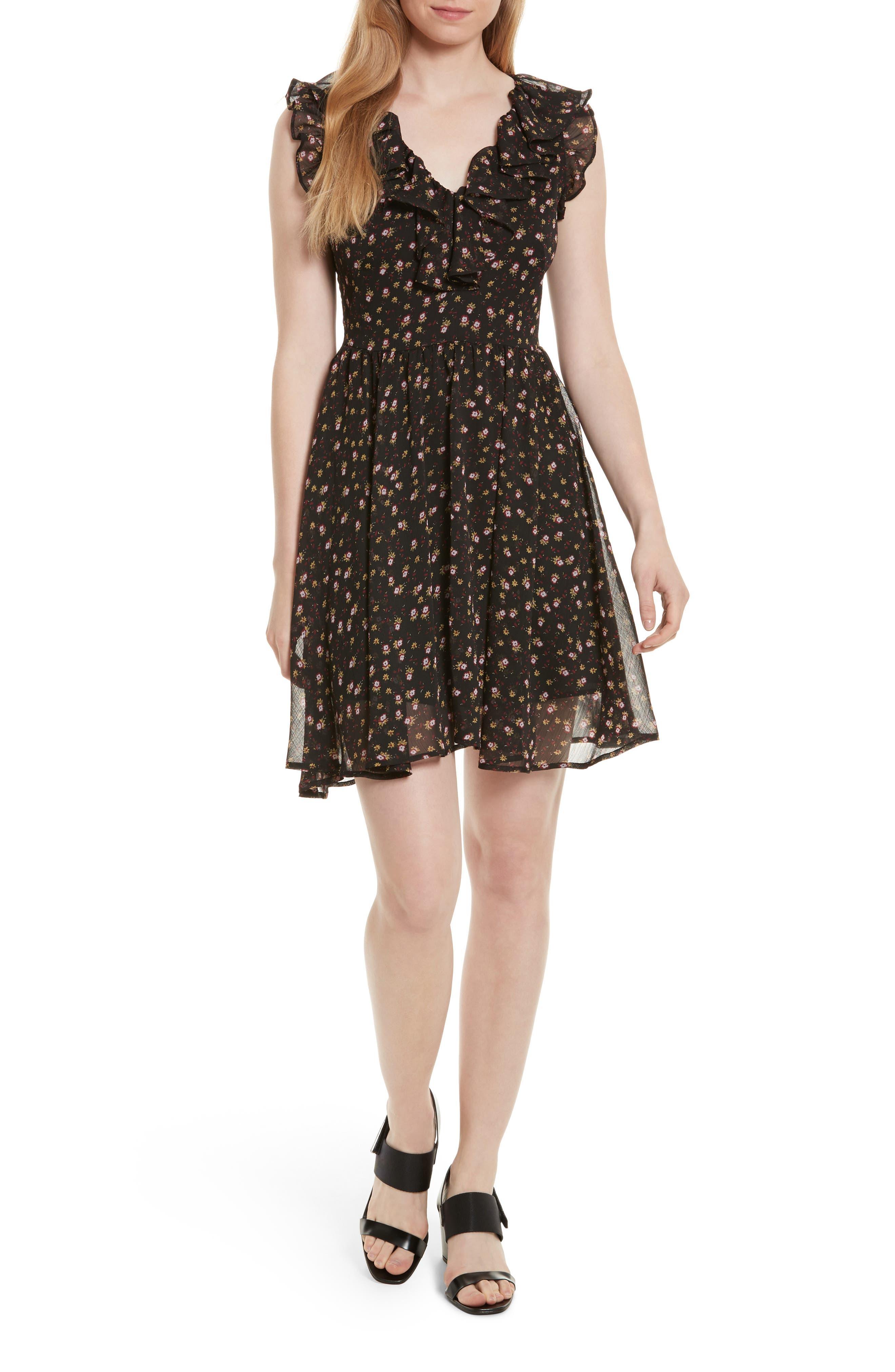 Brista Fit & Flare Dress,                         Main,                         color, Black Multi