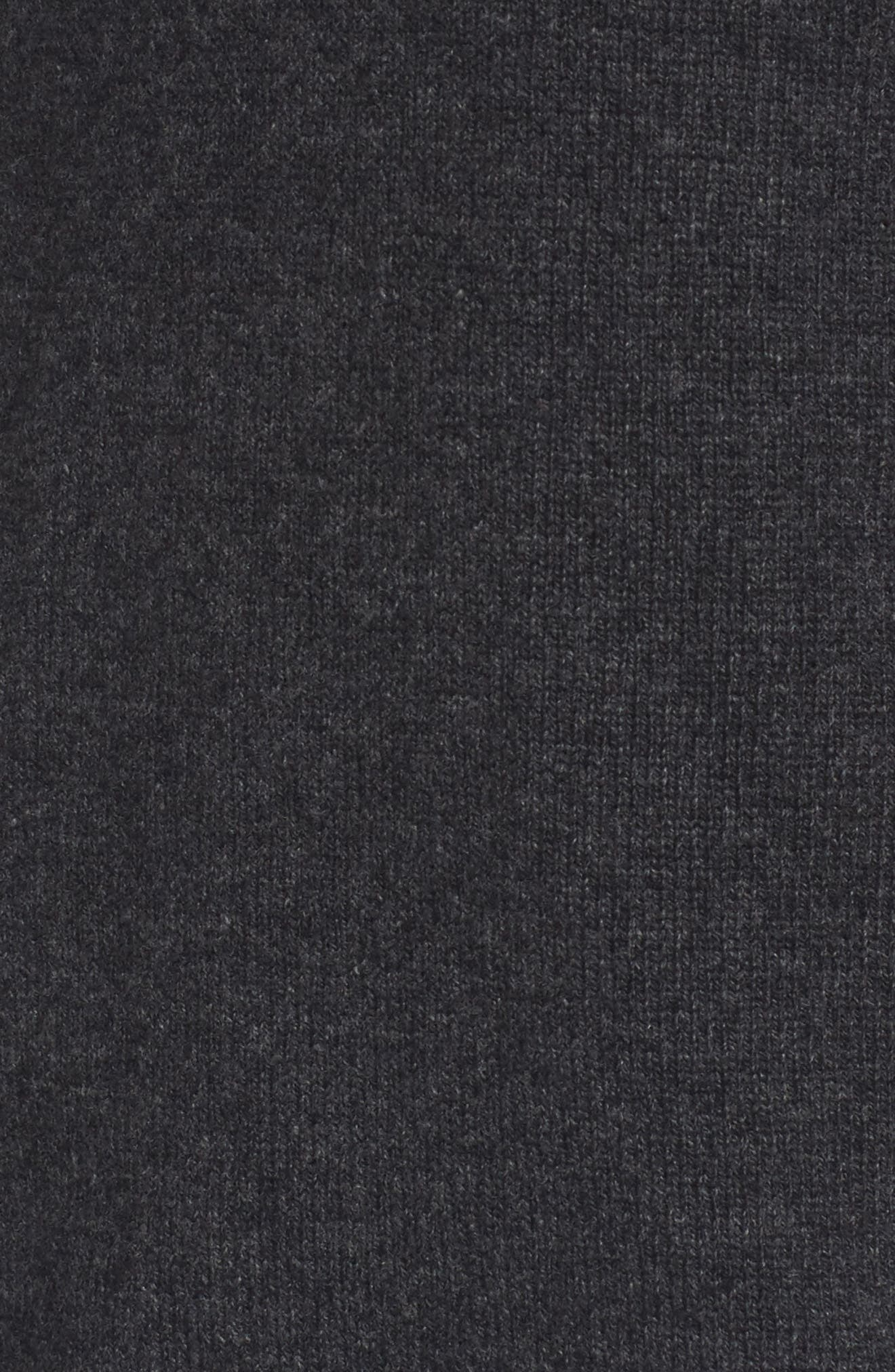 Wool Blend Quarter Zip Sweater,                             Alternate thumbnail 5, color,                             Dark Grey