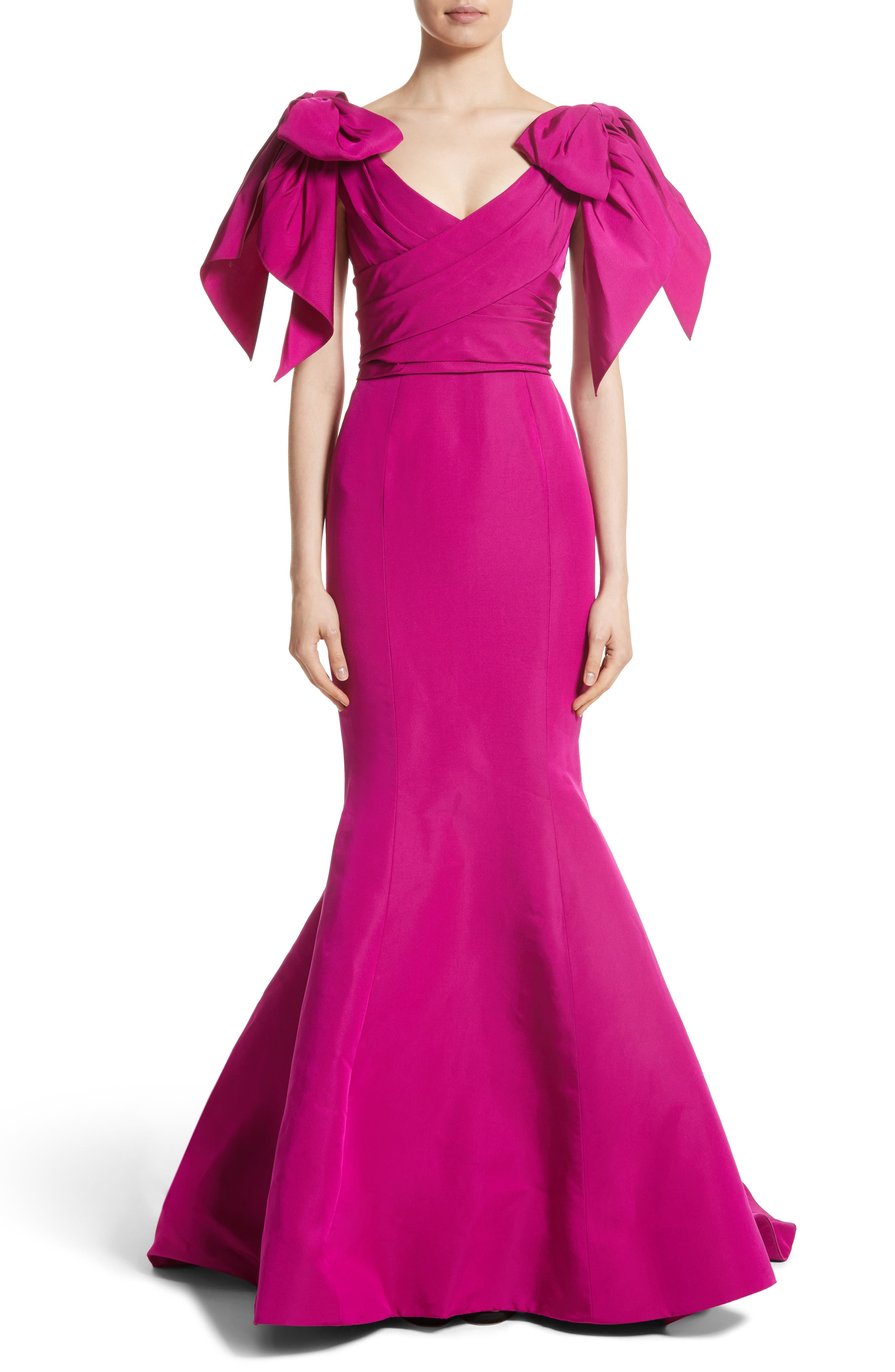 Bow Detail Faille Mermaid Gown,                             Main thumbnail 1, color,                             Fuchsia