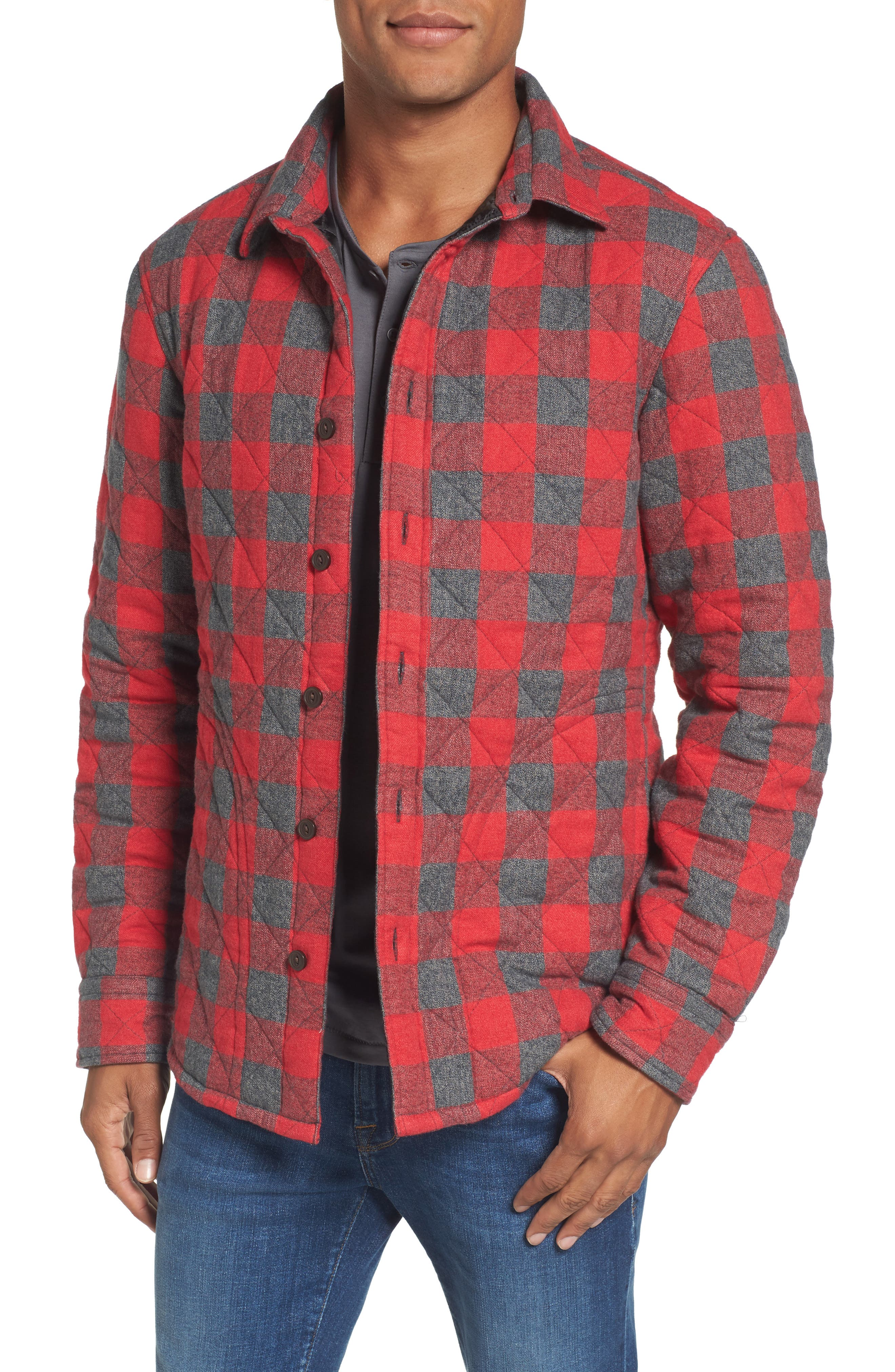 Quilted Shirt Jacket,                         Main,                         color, Red Chili Jaspe Buffalo