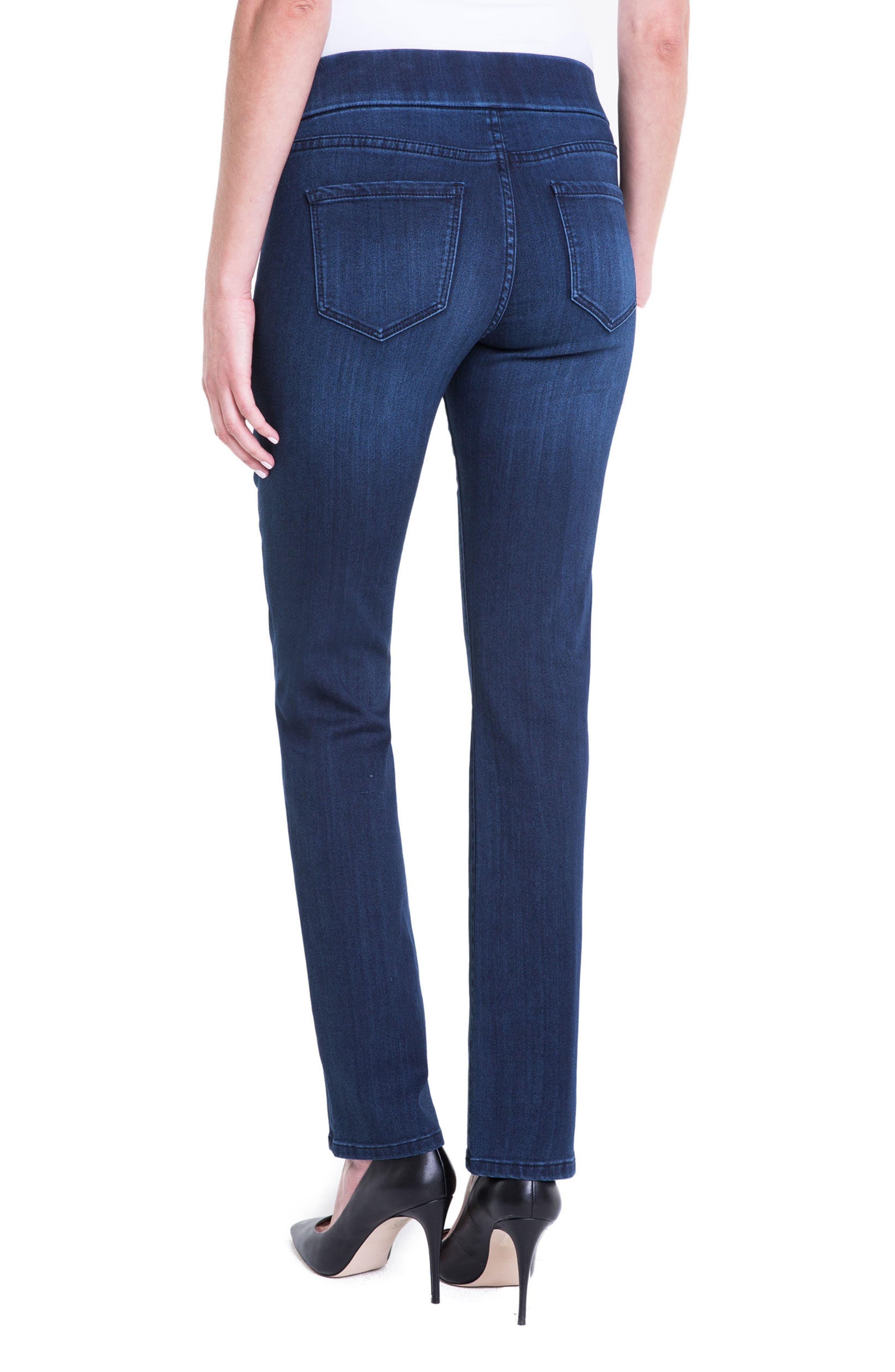 Jillian Pull-On Straight Leg Jeans,                             Alternate thumbnail 4, color,                             Estrella Med Dark