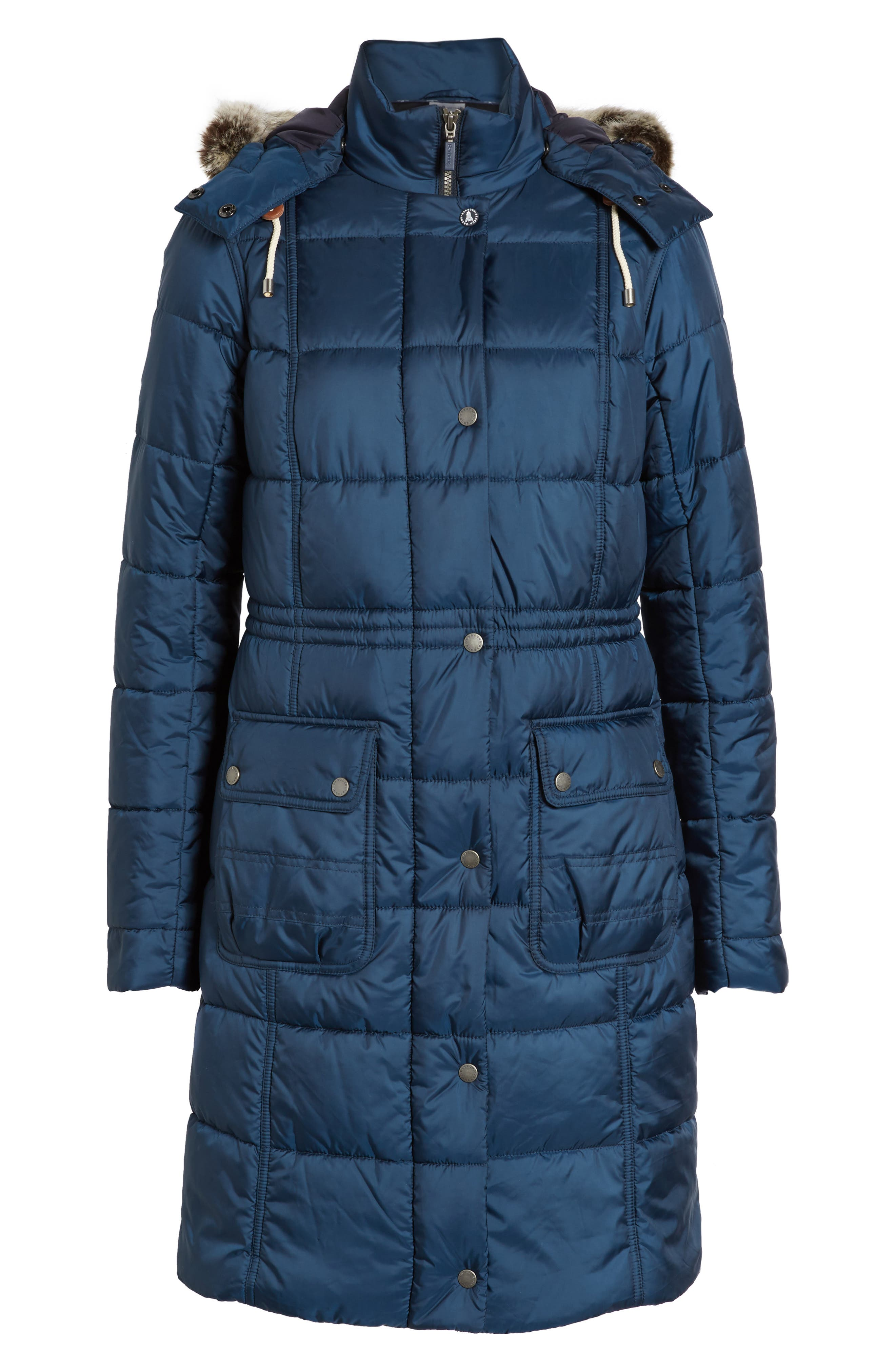 Winterton Water Resistant Hooded Quilted Jacket with Faux Fur Trim,                             Alternate thumbnail 6, color,                             French Navy