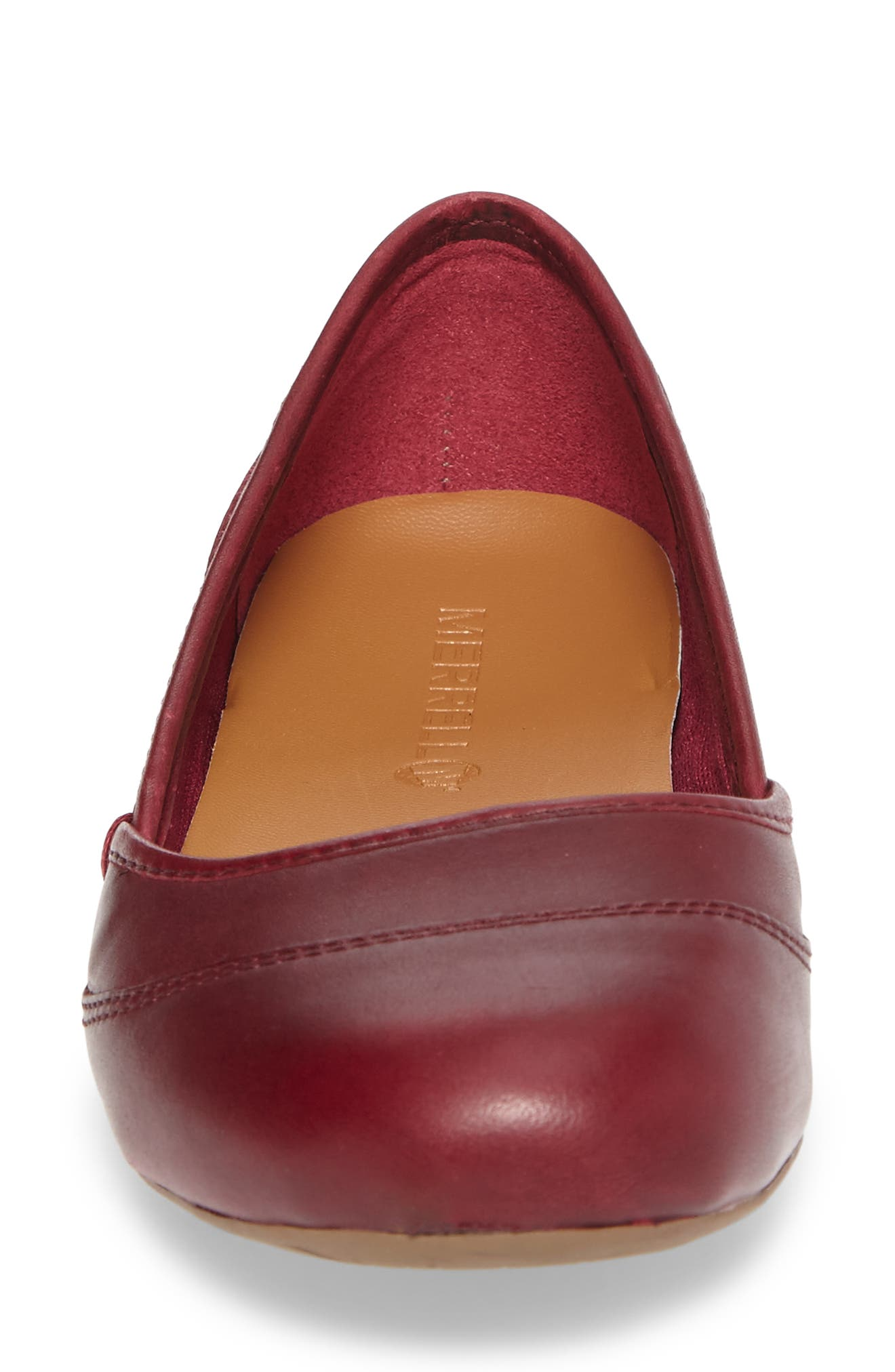 Ember Ballet Flat,                             Alternate thumbnail 4, color,                             Beet Red Leather