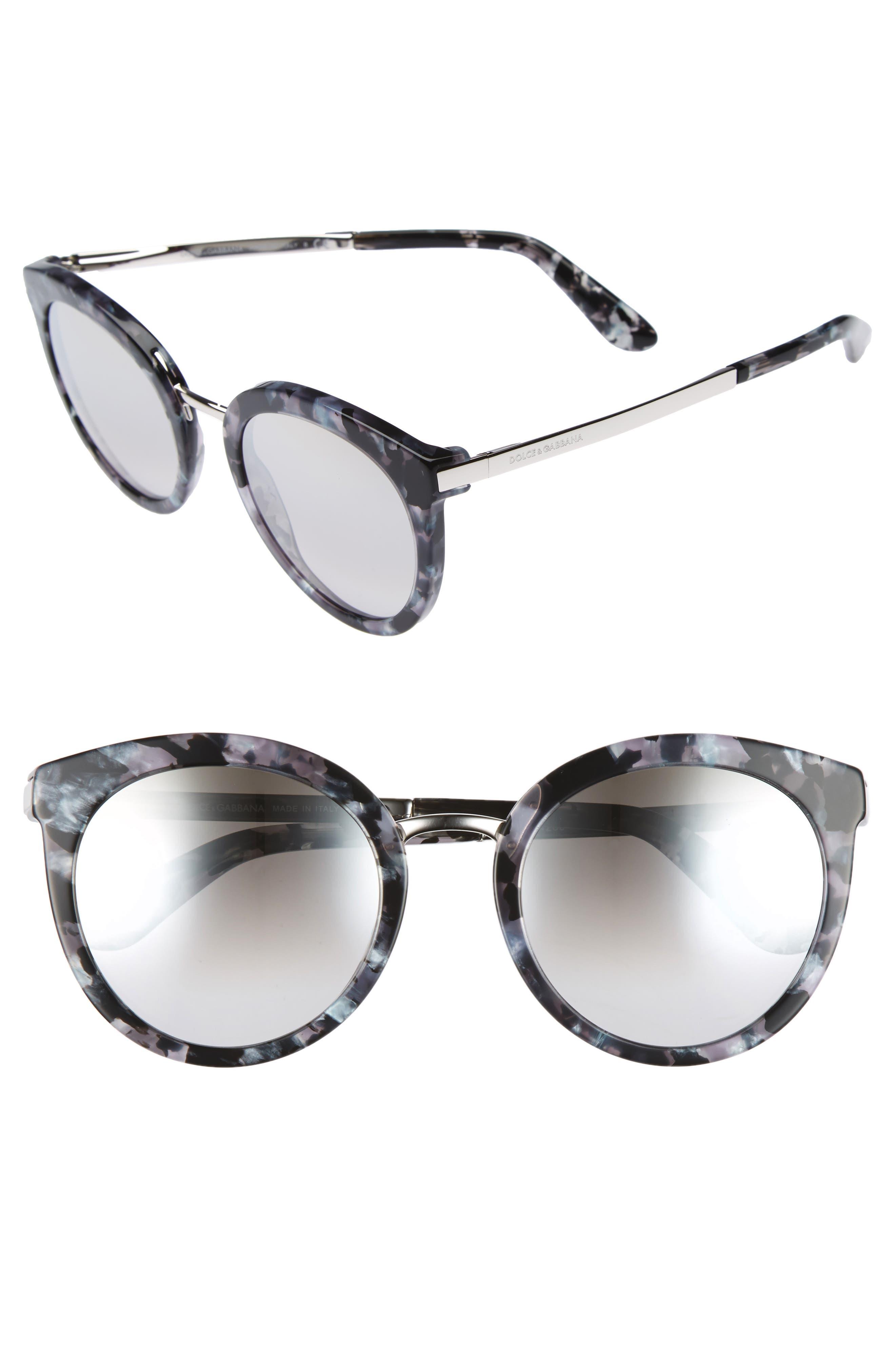 DOLCE&GABBANA 52mm Mirrored Round Sunglasses