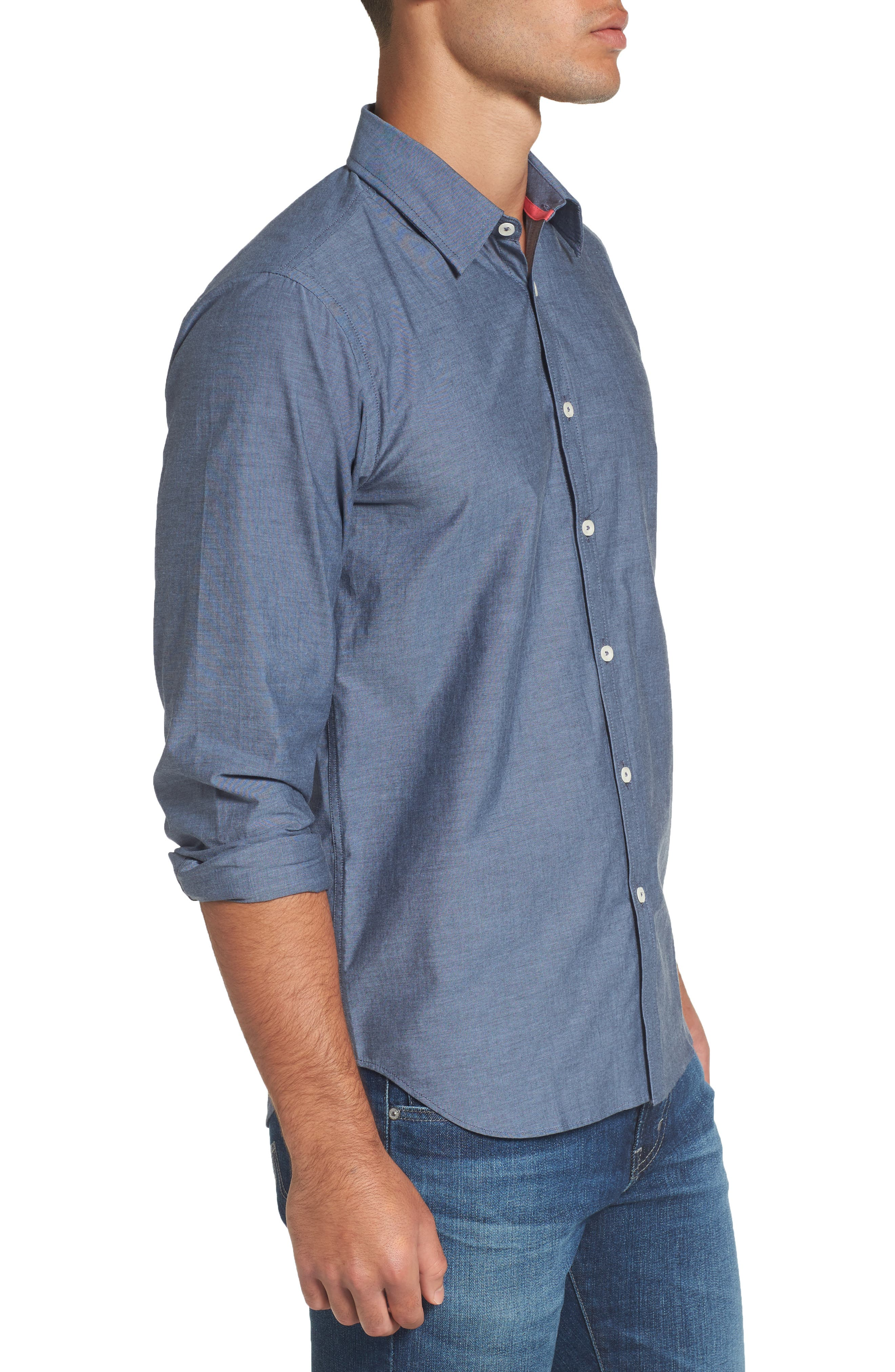 Fitted Sport Shirt,                             Alternate thumbnail 3, color,                             Medium Blue