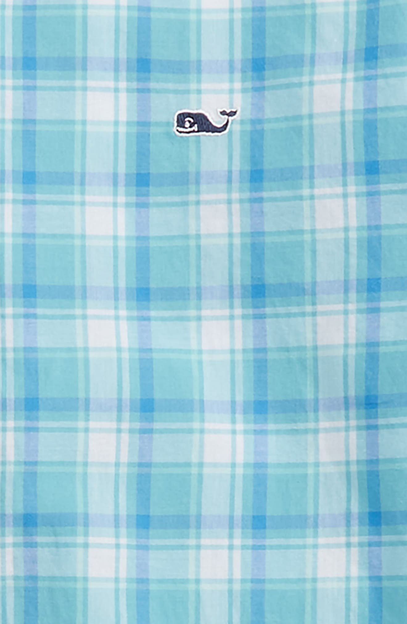 Point Plaid Cotton Shirt,                             Alternate thumbnail 2, color,                             Aqua Ocean