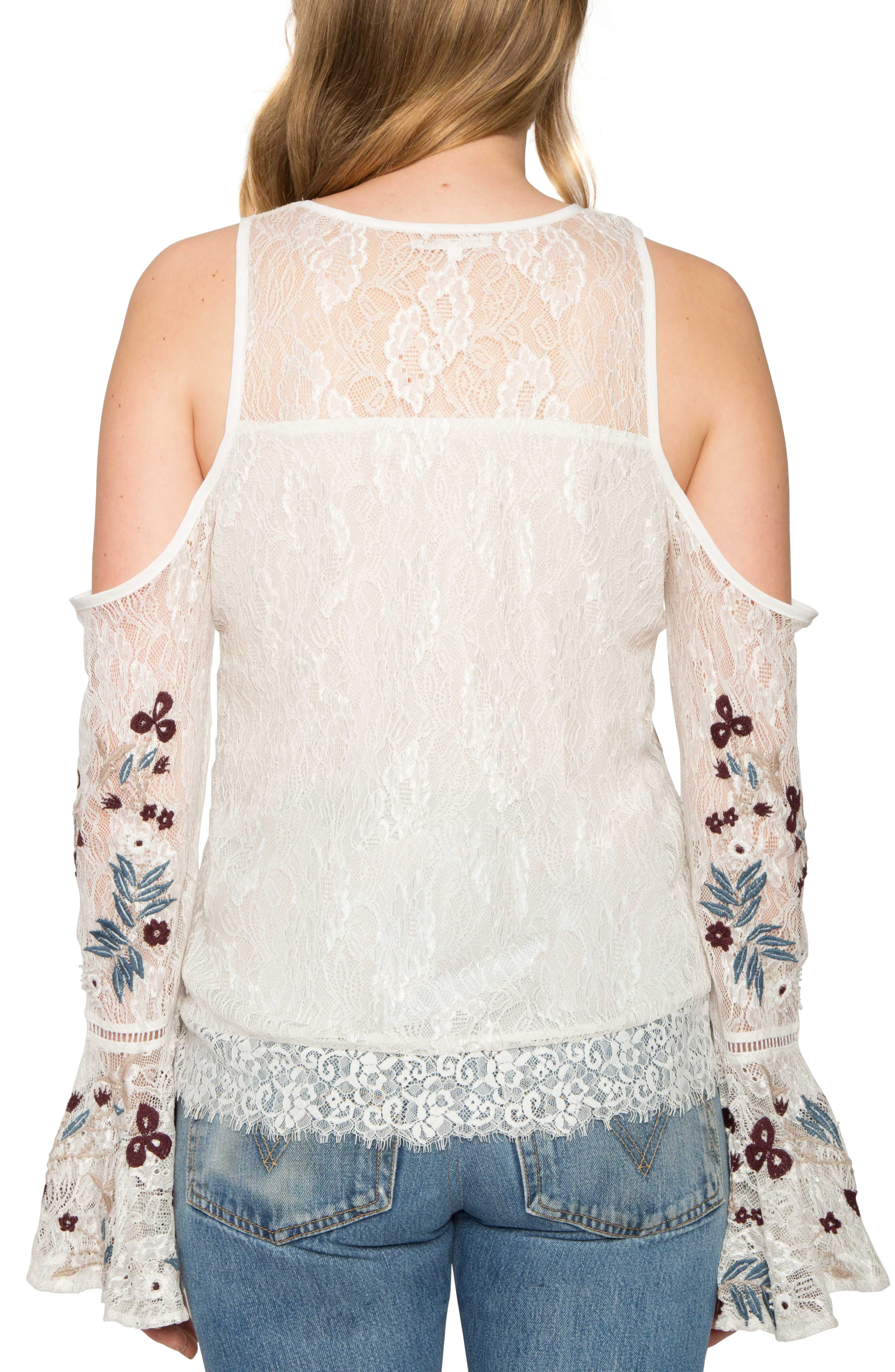 Alternate Image 2  - Willow & Clay Cold Shoulder Bell Sleeve Top