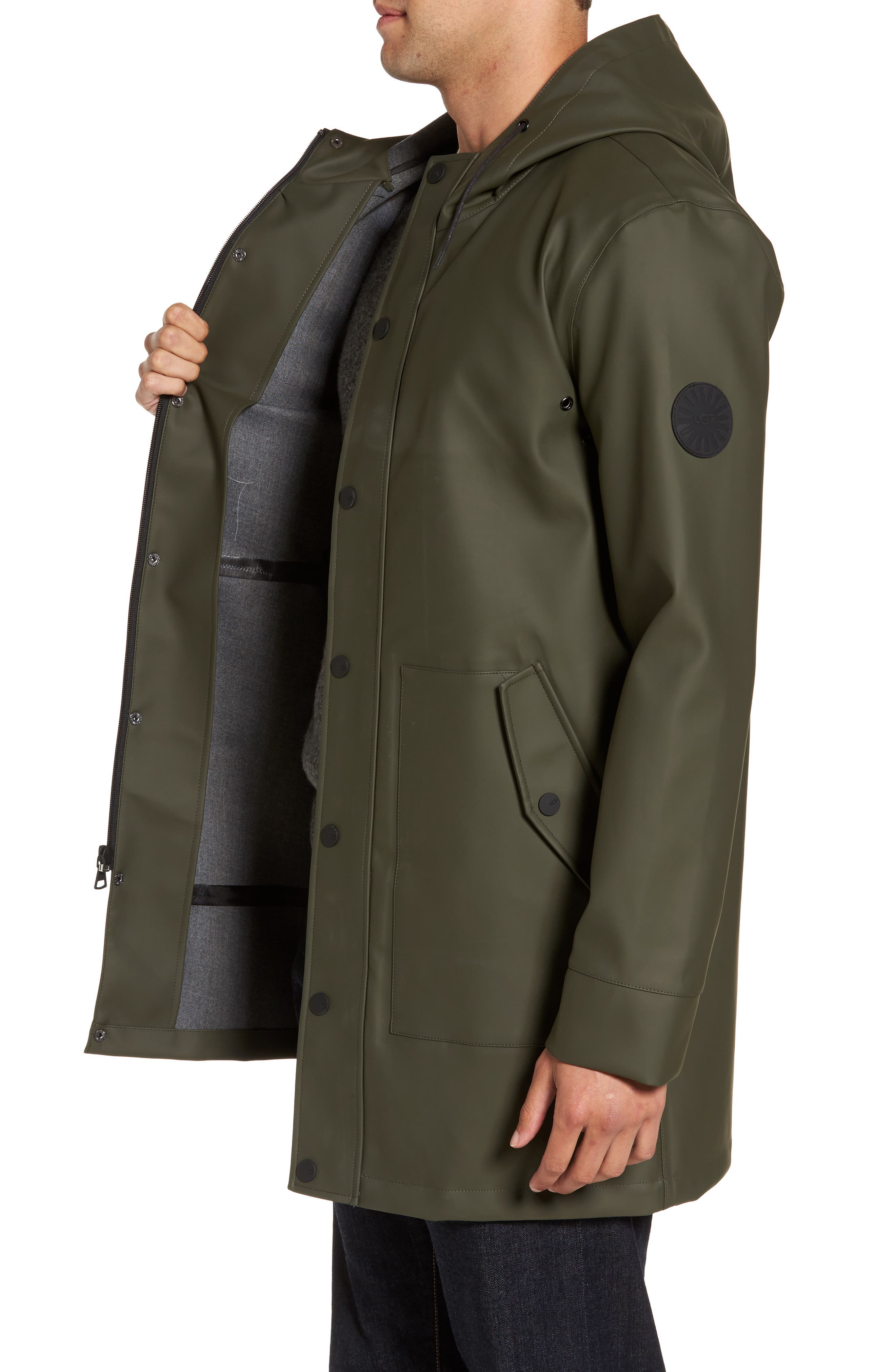 Hooded Raincoat,                             Alternate thumbnail 3, color,                             Olive