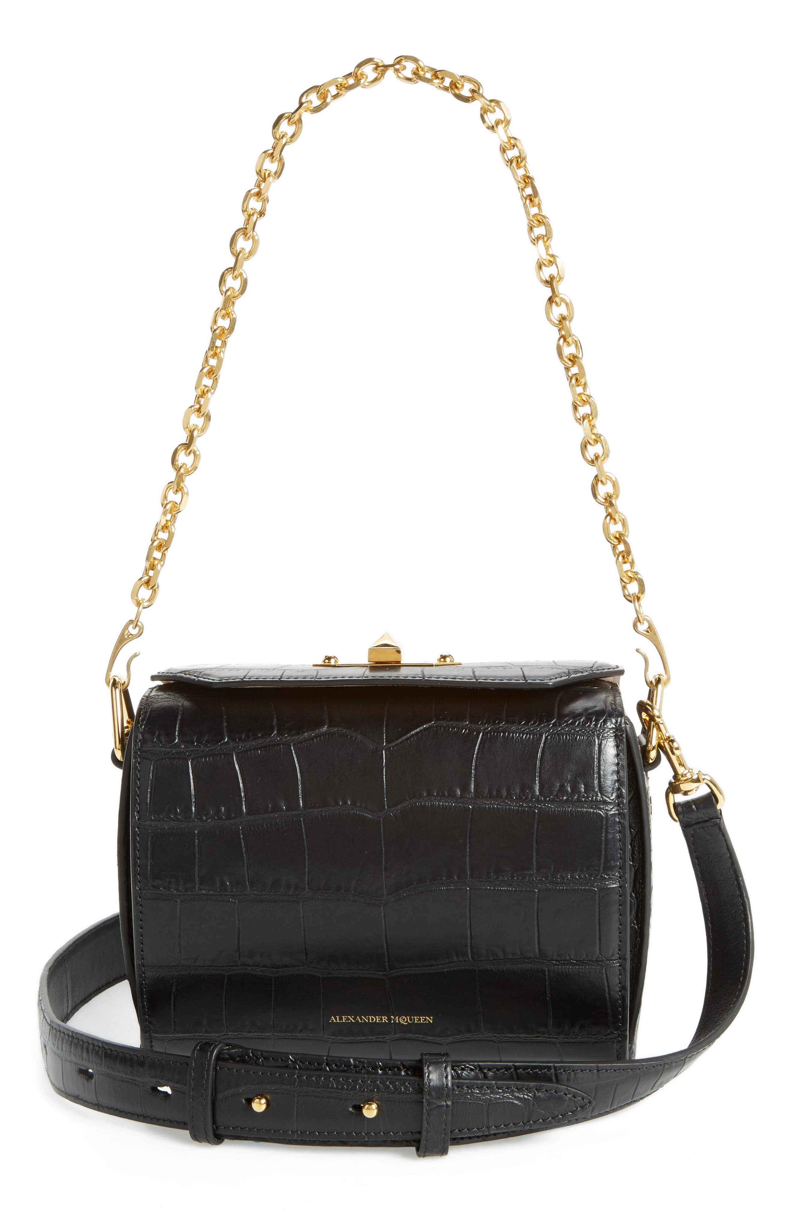 Box Bag 19 Croc Embossed Leather Bag,                             Alternate thumbnail 2, color,                             Black