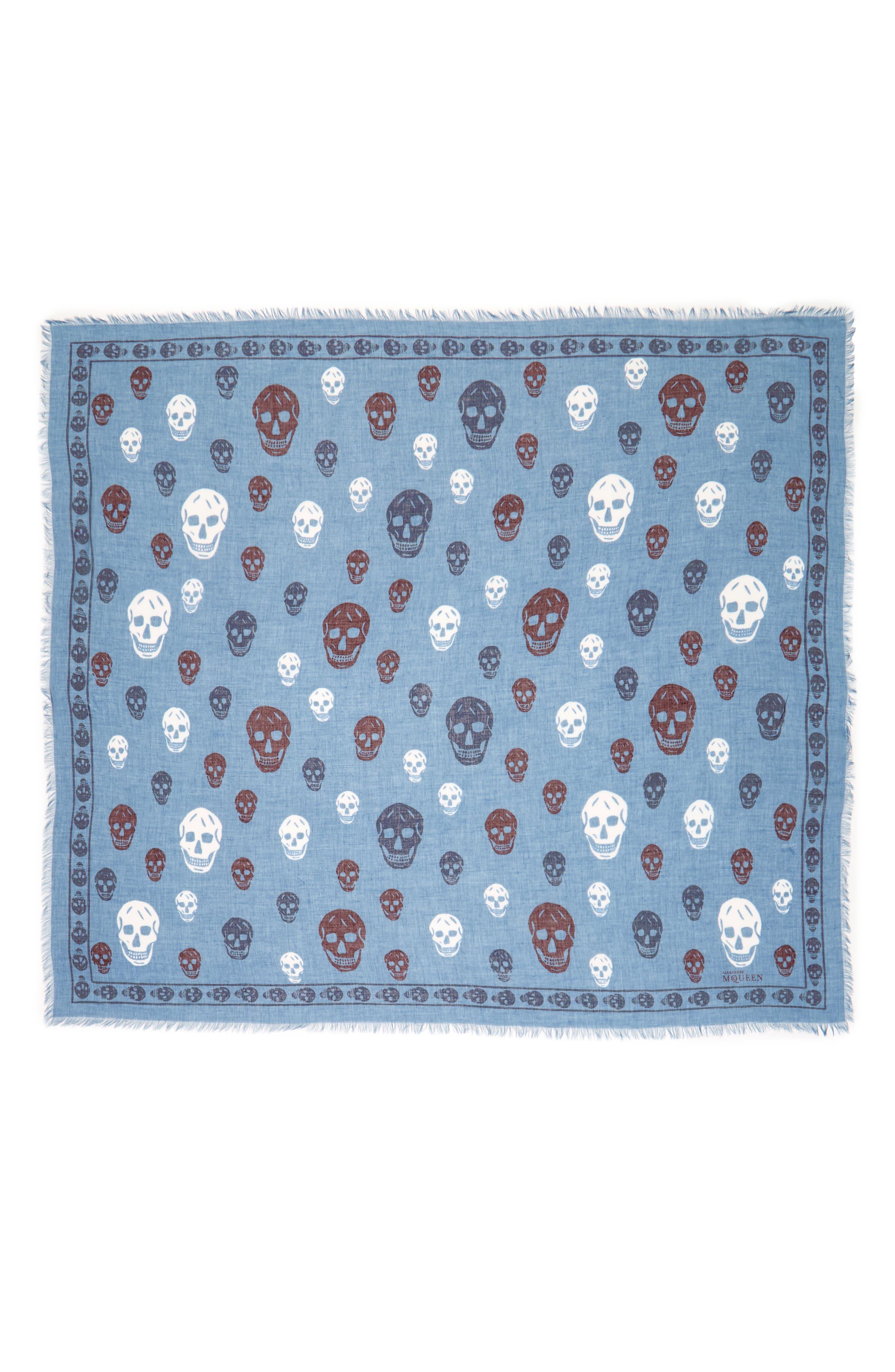 Multicolor Skull Silk & Modal Scarf,                             Alternate thumbnail 2, color,                             Nile Blue