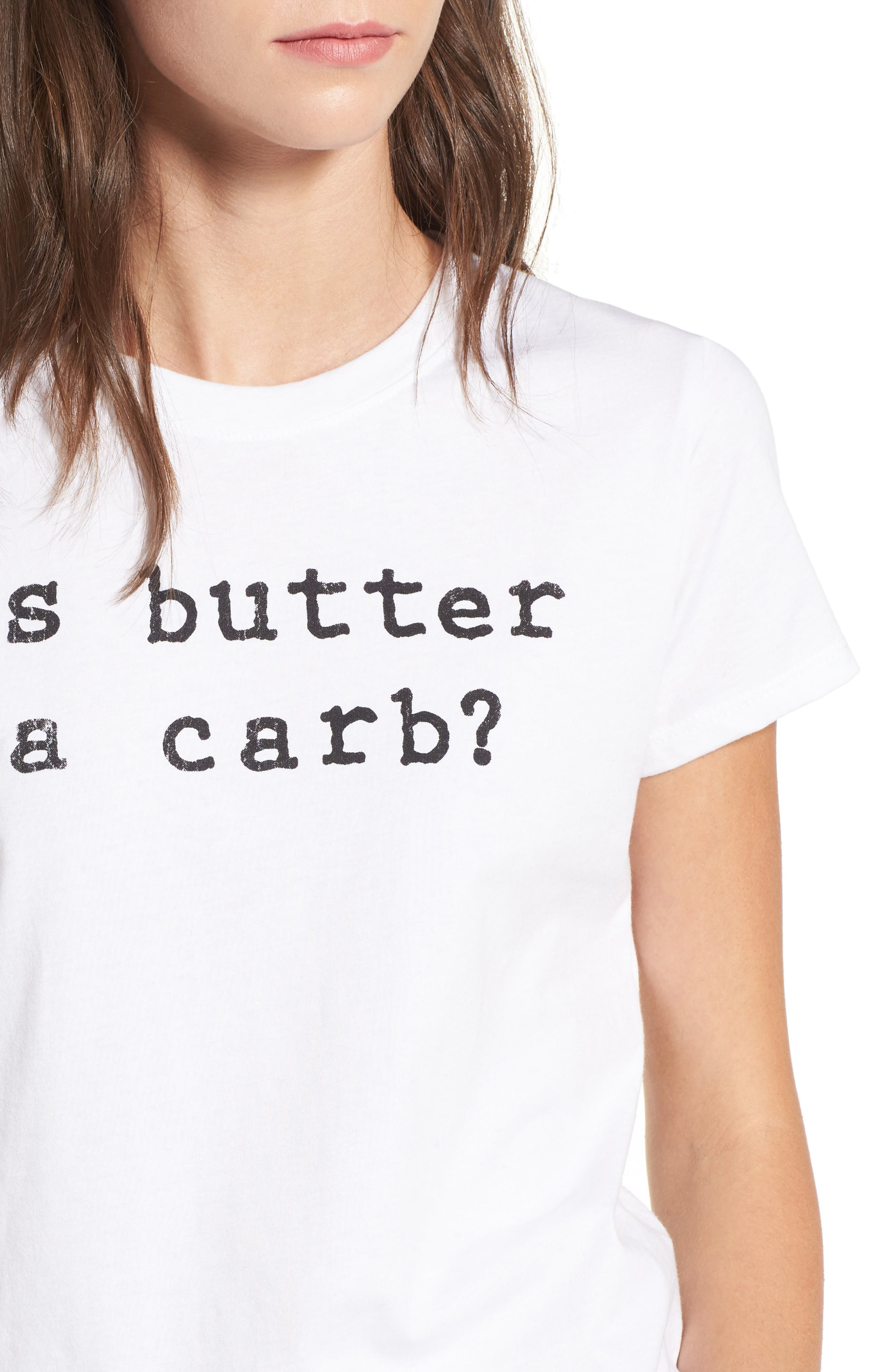 x Mean Girls Is Butter a Carb Tee,                             Alternate thumbnail 4, color,                             White
