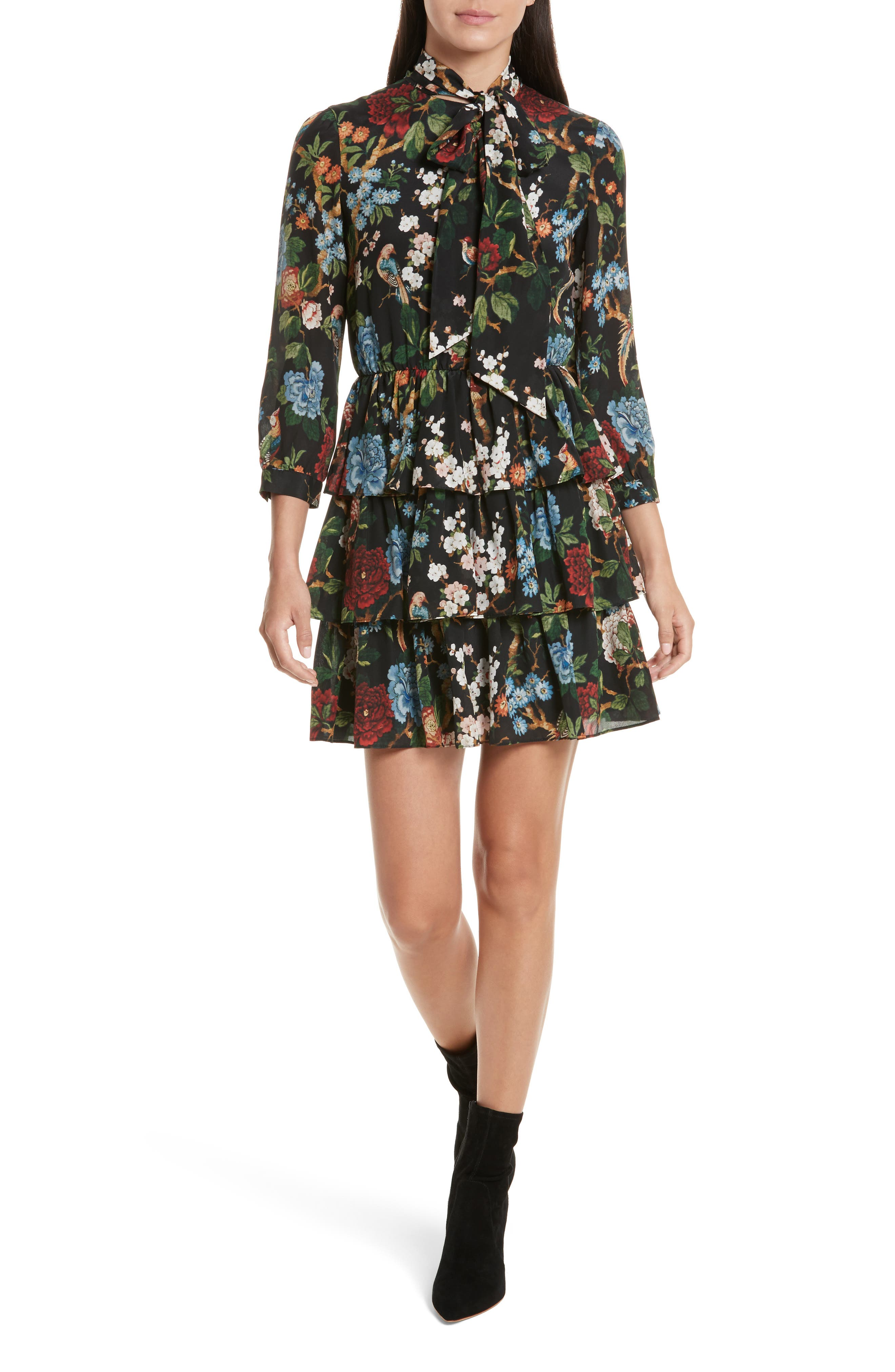 Breann Tie Neck Tiered Dress,                         Main,                         color, Chinoiserie Garden/ Black