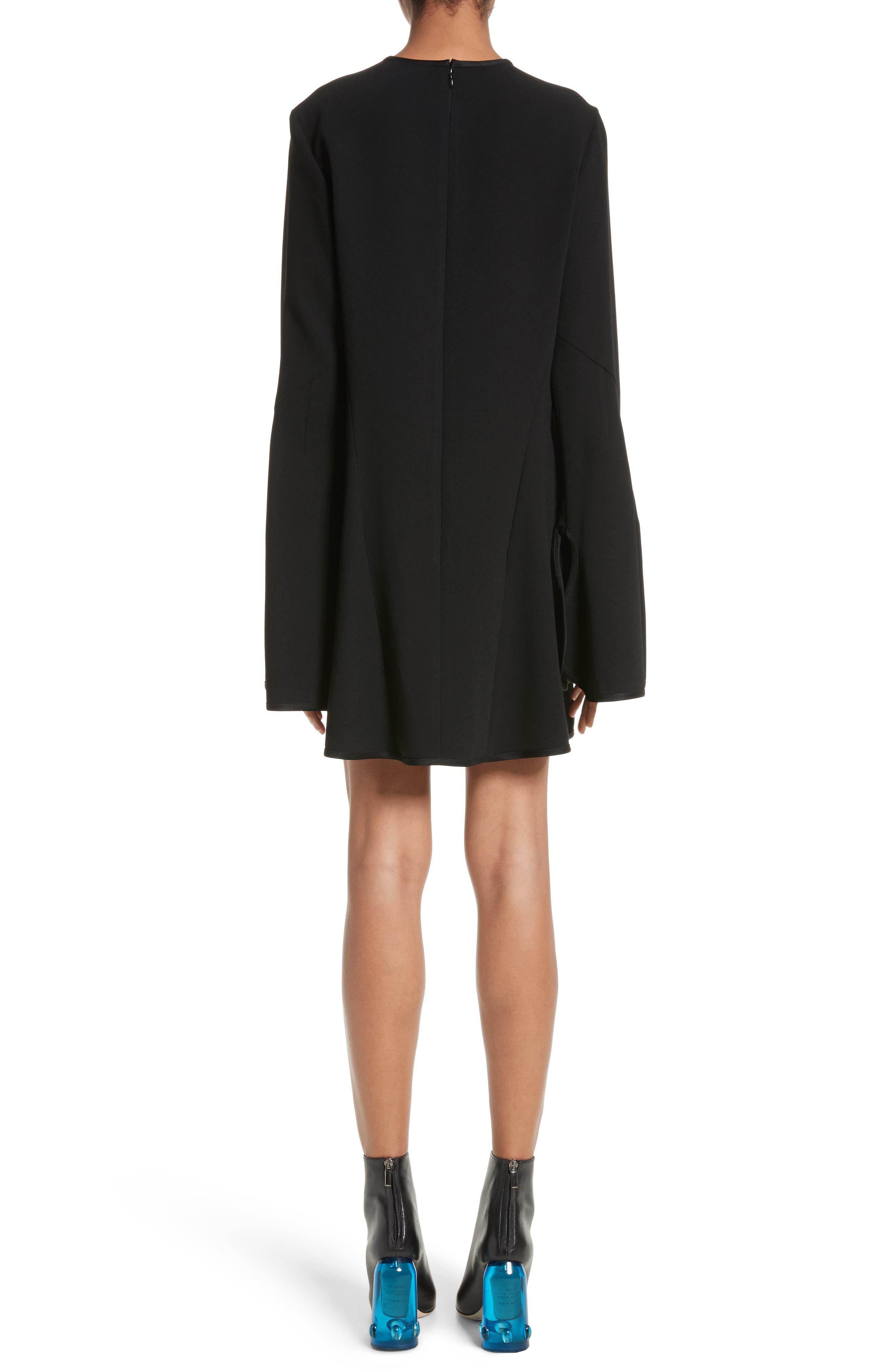 Preacher Flare Sleeve Minidress,                             Alternate thumbnail 2, color,                             Black