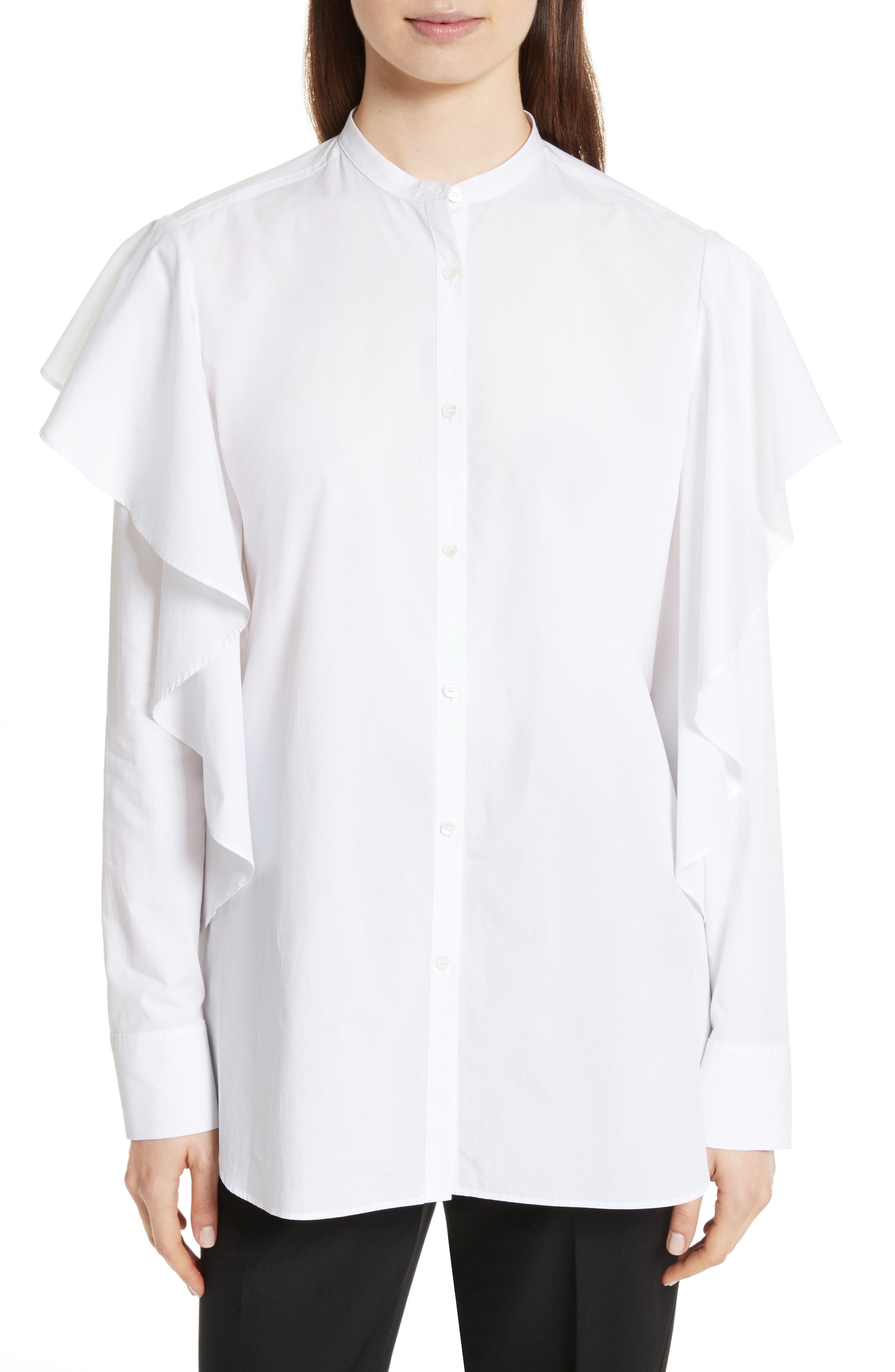 Ruffle Cotton Shirt,                         Main,                         color, Optic White