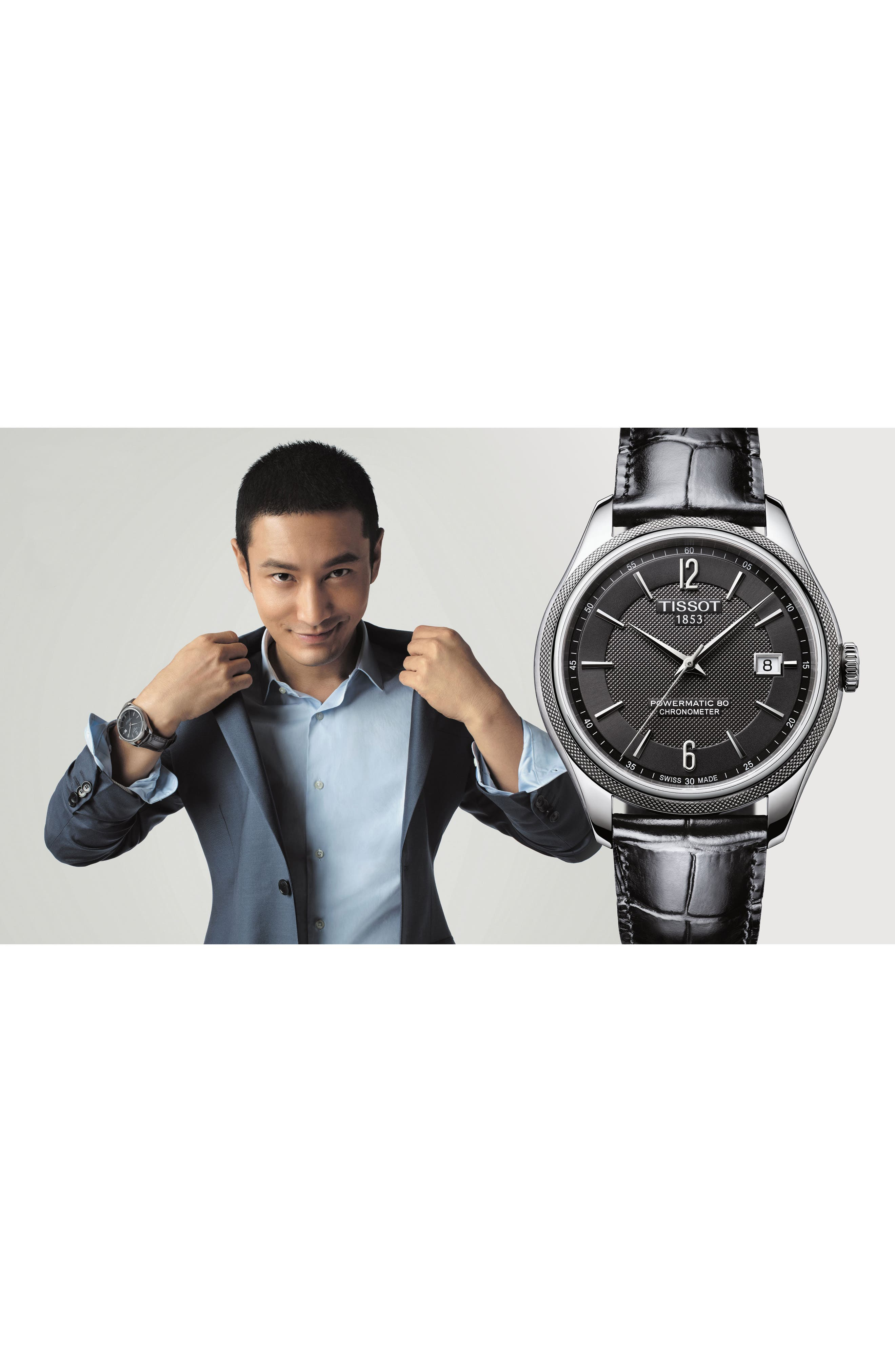 Alternate Image 3  - Tissot Ballade Powermatic 80 Chronometer Leather Strap Watch, 39mm