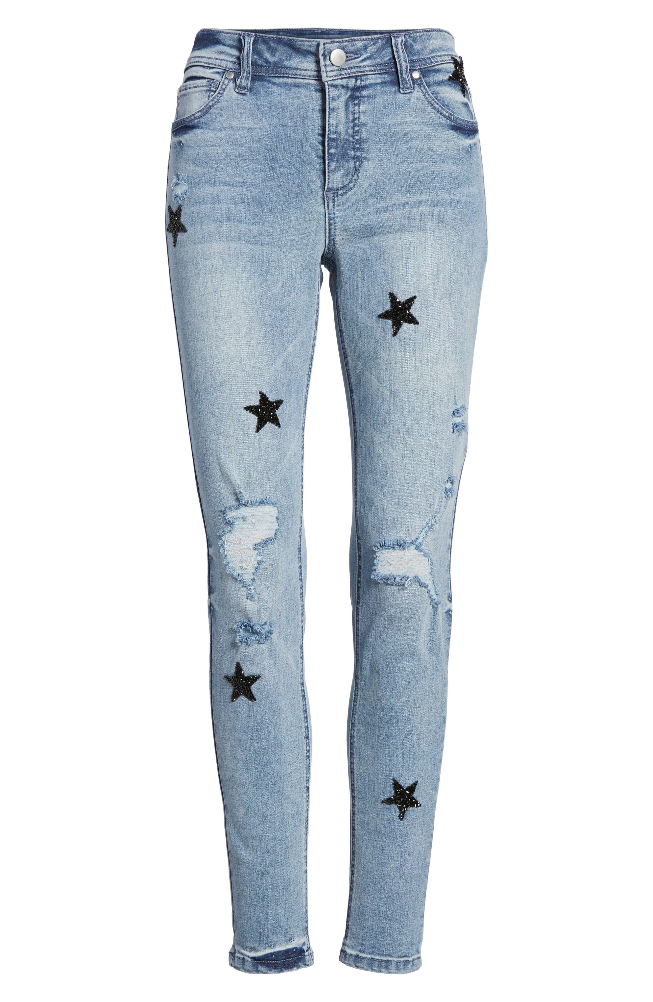 Alternate Image 6  - Tinsel Star Embellished Skinny Jeans (Caleb Light Wash)