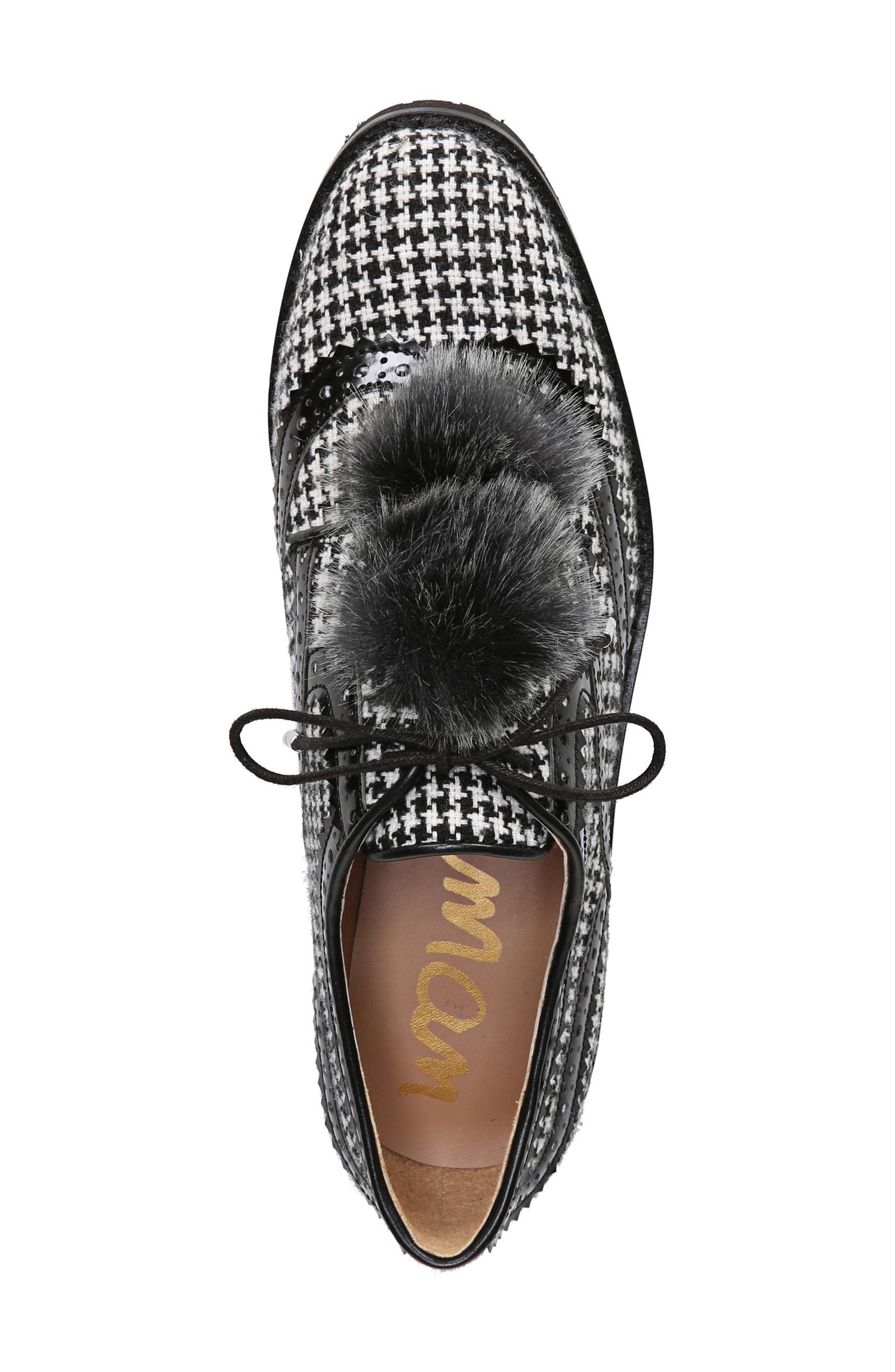 Dahl Oxford with Faux Fur Pompom,                             Alternate thumbnail 5, color,                             Black/ White Houndstooth