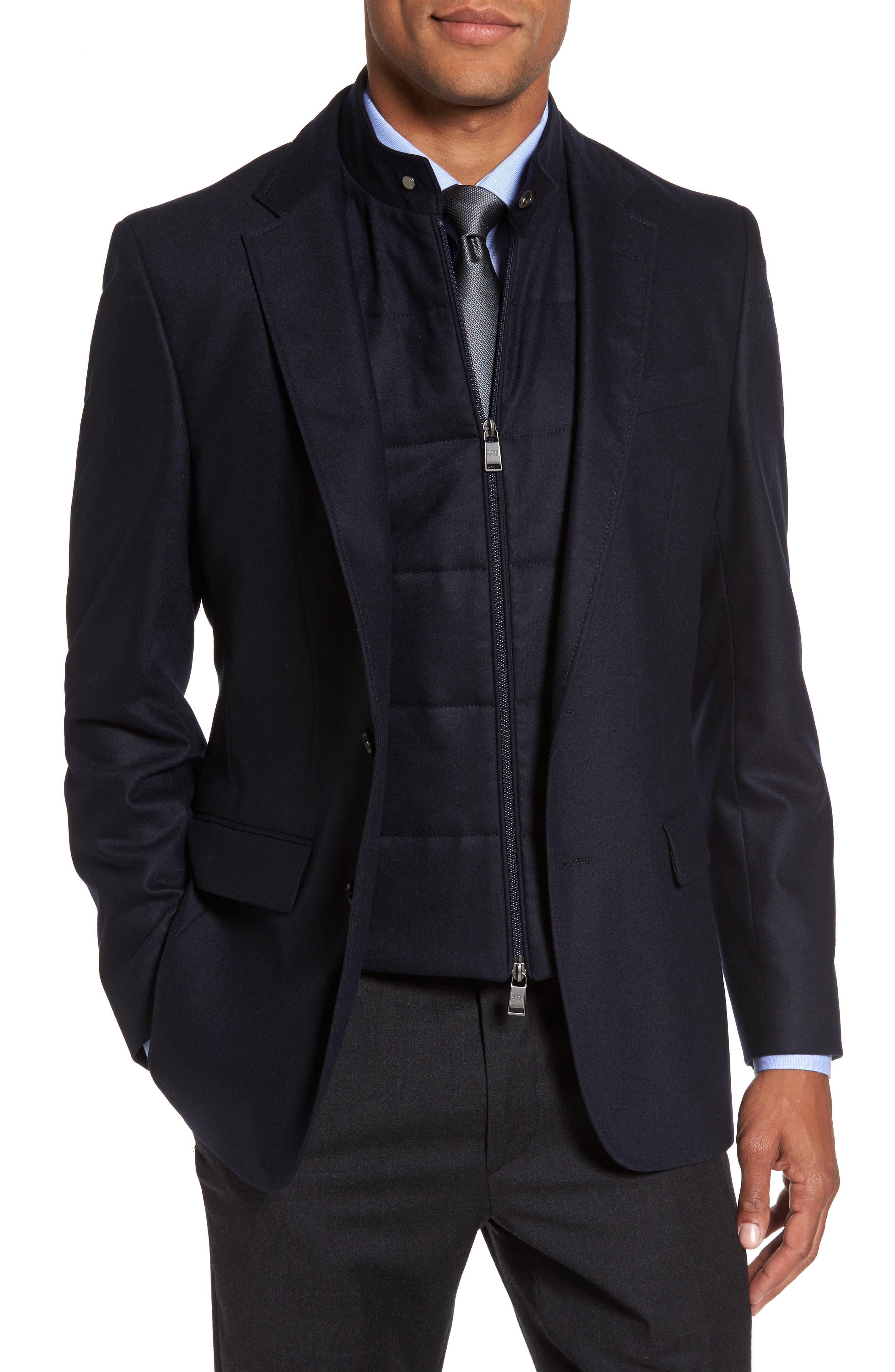 BOSS Hadwart Trim Fit Stretch Wool Blend Blazer