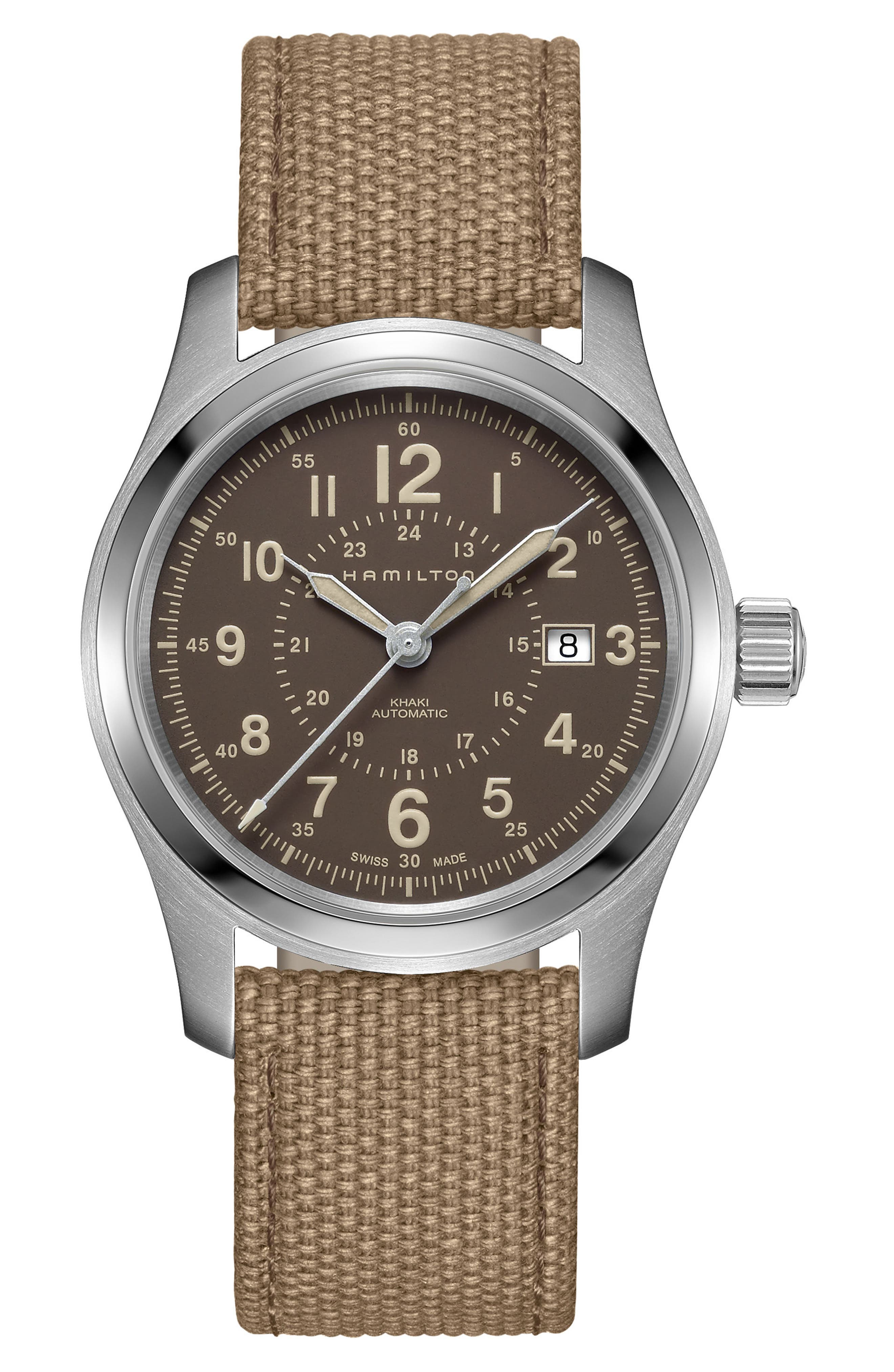 Khaki Field Automatic Canvas Strap Watch, 42mm,                         Main,                         color, Beige/ Brown/ Silver