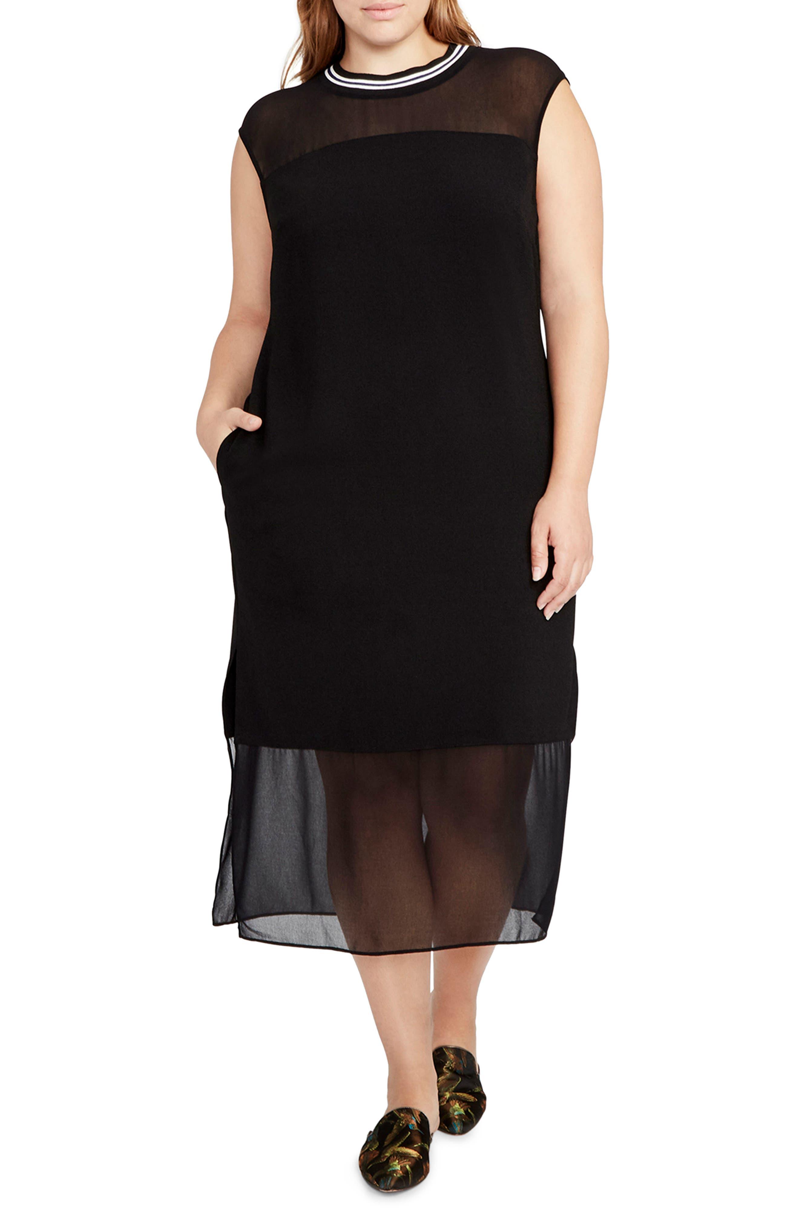 Rib Neck Shift Dress,                         Main,                         color, Black