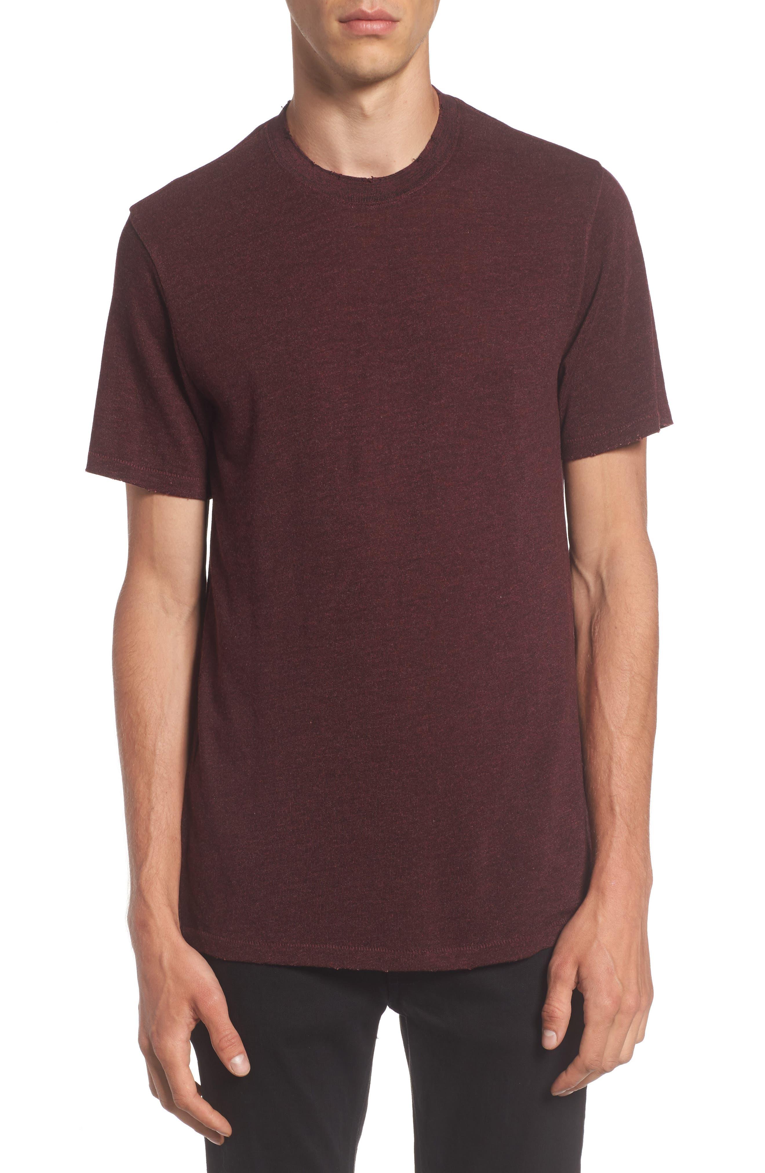 Core Crewneck T-Shirt,                         Main,                         color, Burgundy Royale