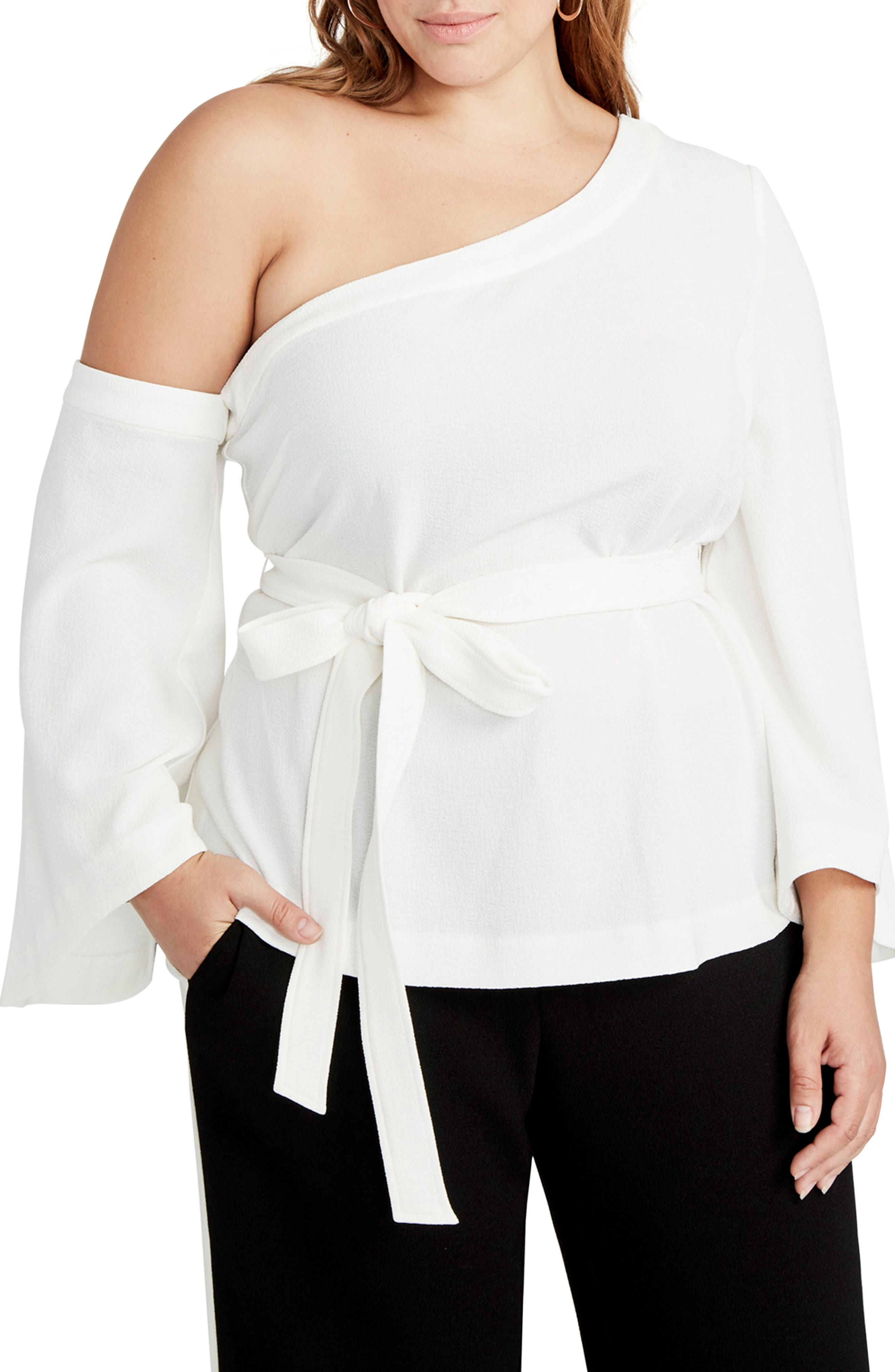 One-Shoulder Bell Sleeve Top,                         Main,                         color, Ivory