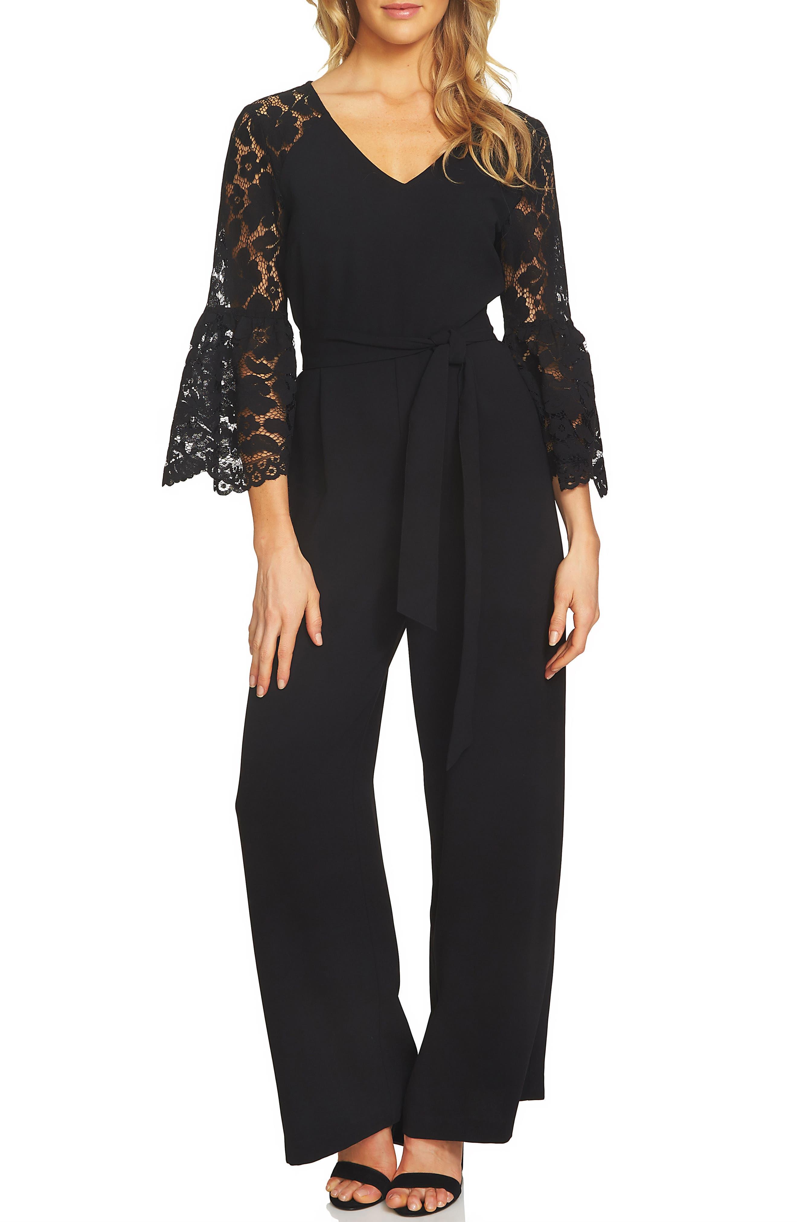 Lace Bell Sleeve Jumpsuit,                         Main,                         color, Rich Black