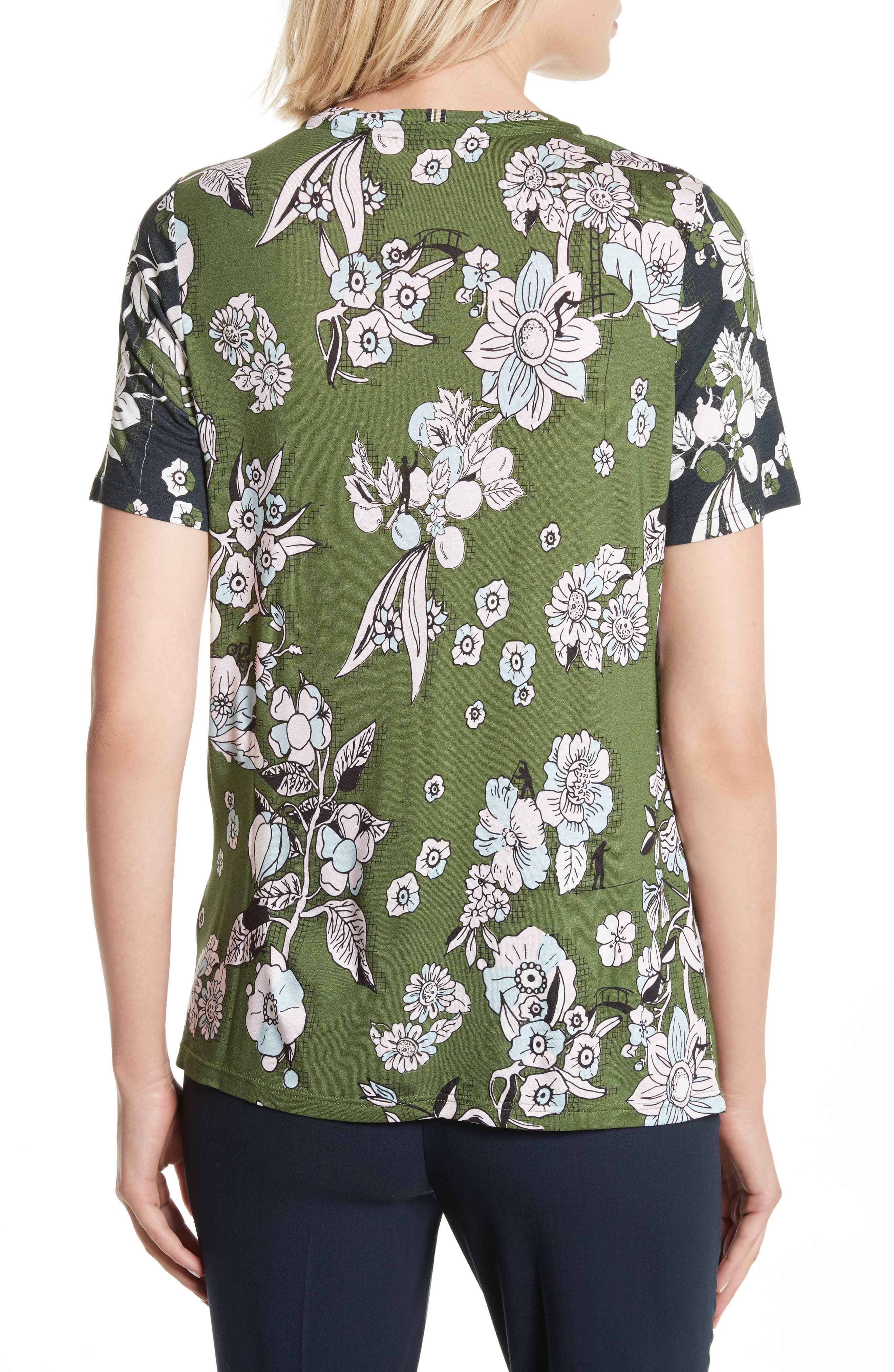 Adren Floral Print Tee,                             Alternate thumbnail 2, color,                             Green