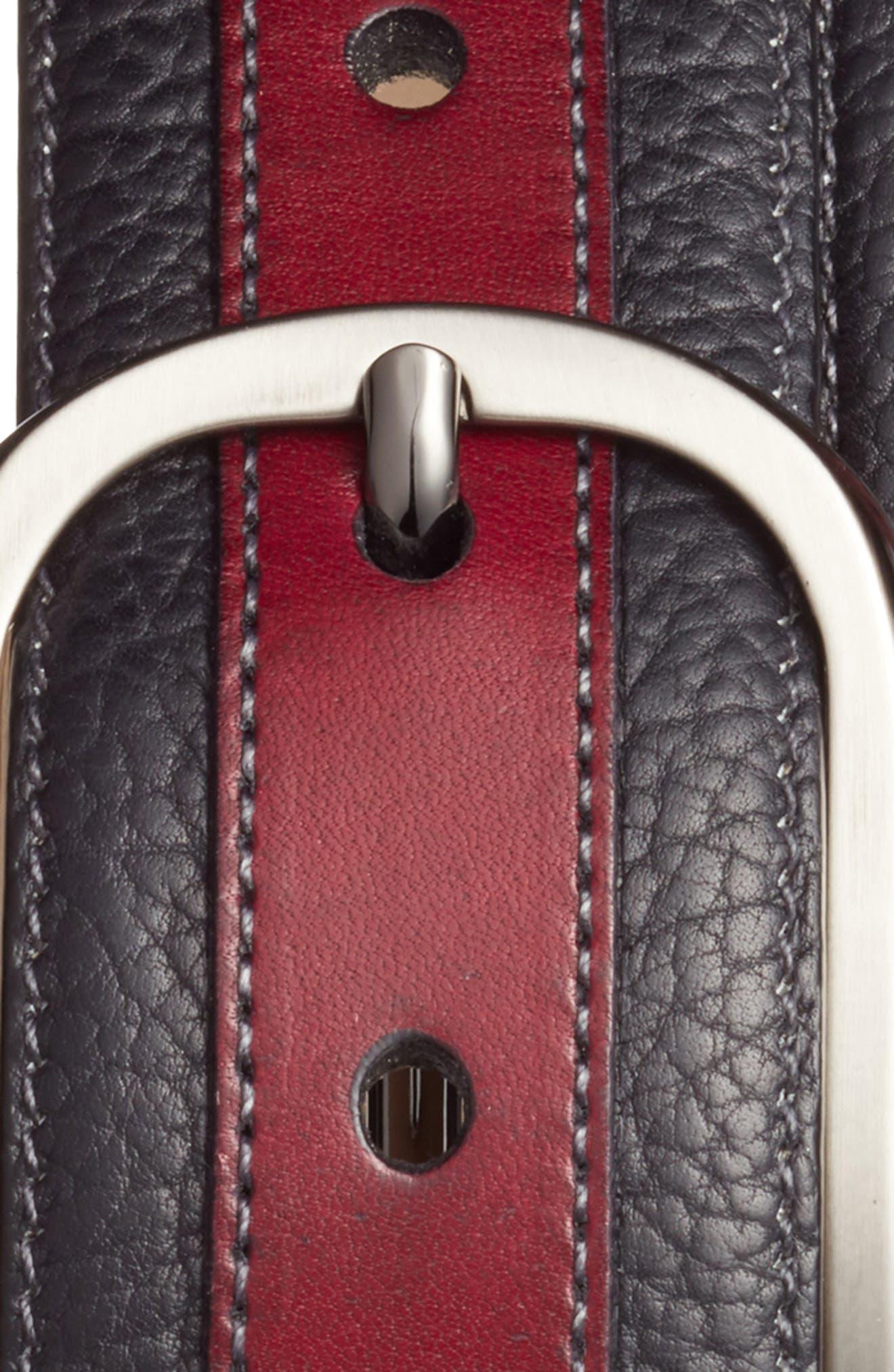 Palma Leather Belt,                             Alternate thumbnail 2, color,                             Burgundy/ Black