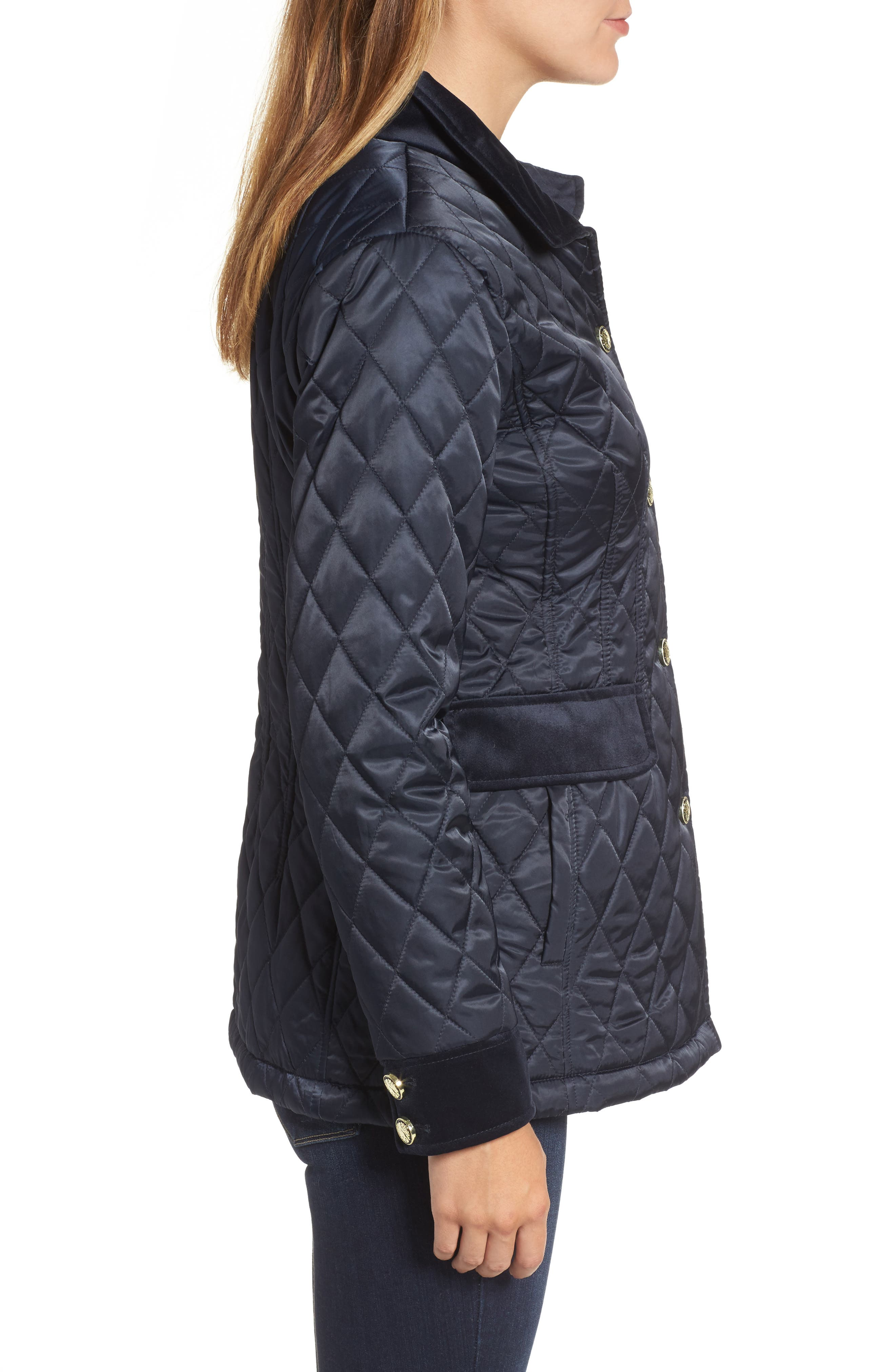 Quilted Jacket,                             Alternate thumbnail 3, color,                             Navy