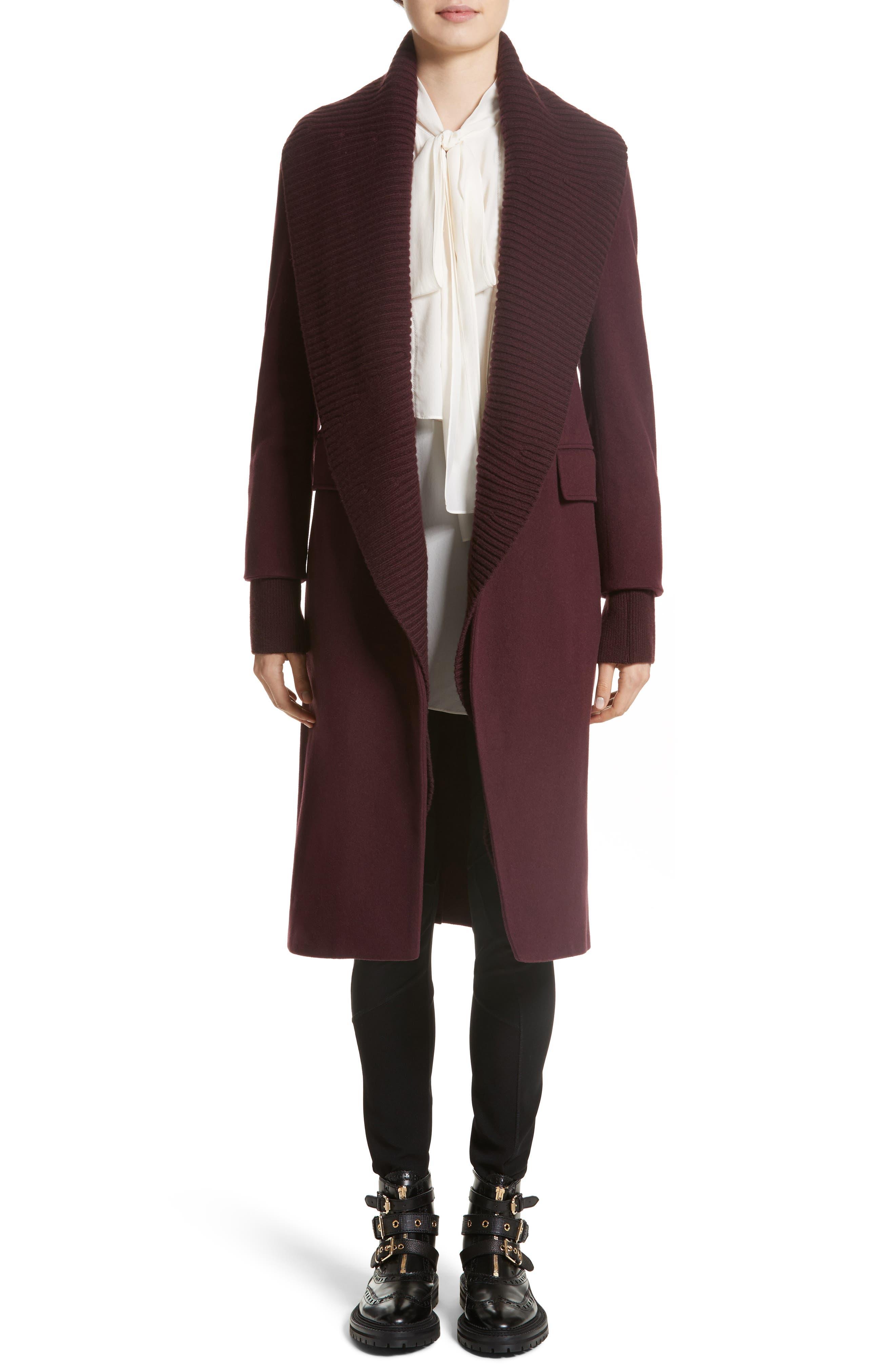 Cairndale Knit Trim Cashmere Coat,                             Alternate thumbnail 9, color,                             Black Currant