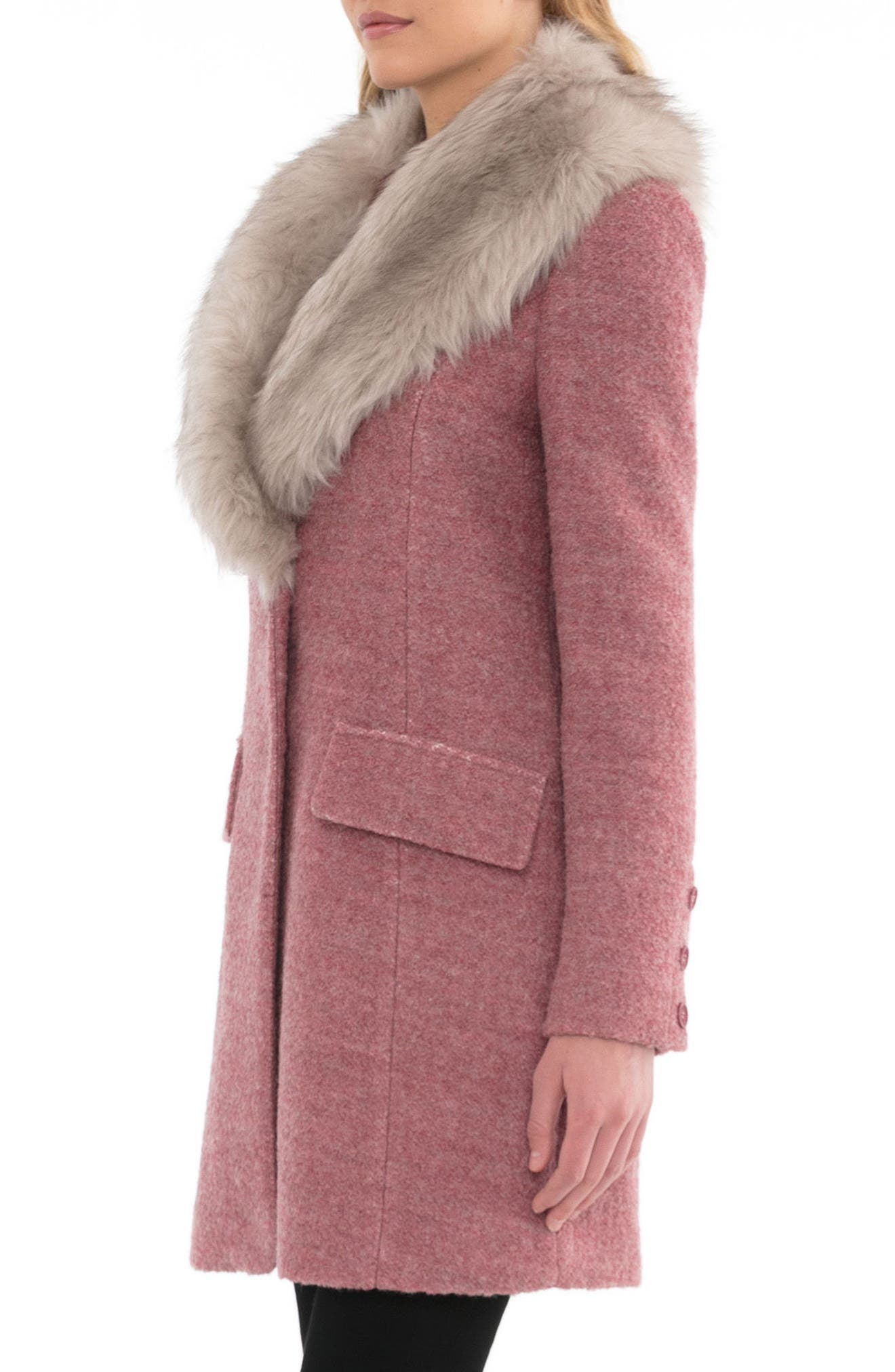 Alternate Image 3  - Belle Badgley Mischka 'Holly' Faux Fur Collar Bouclé Coat