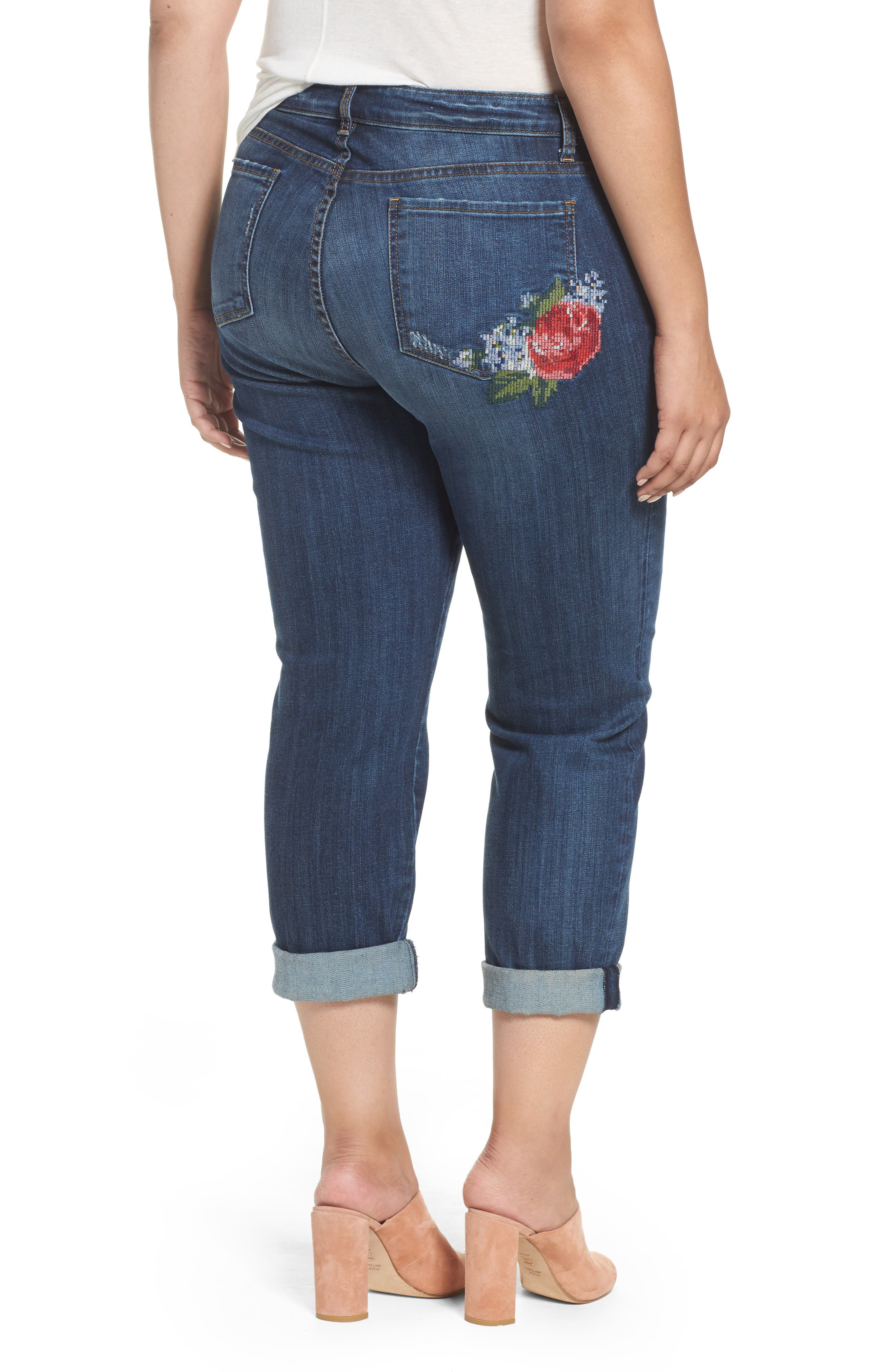 Alternate Image 3  - KUT from the Kloth Catherine Embroidered Boyfriend Jeans (Premier Dark) (Plus Size)