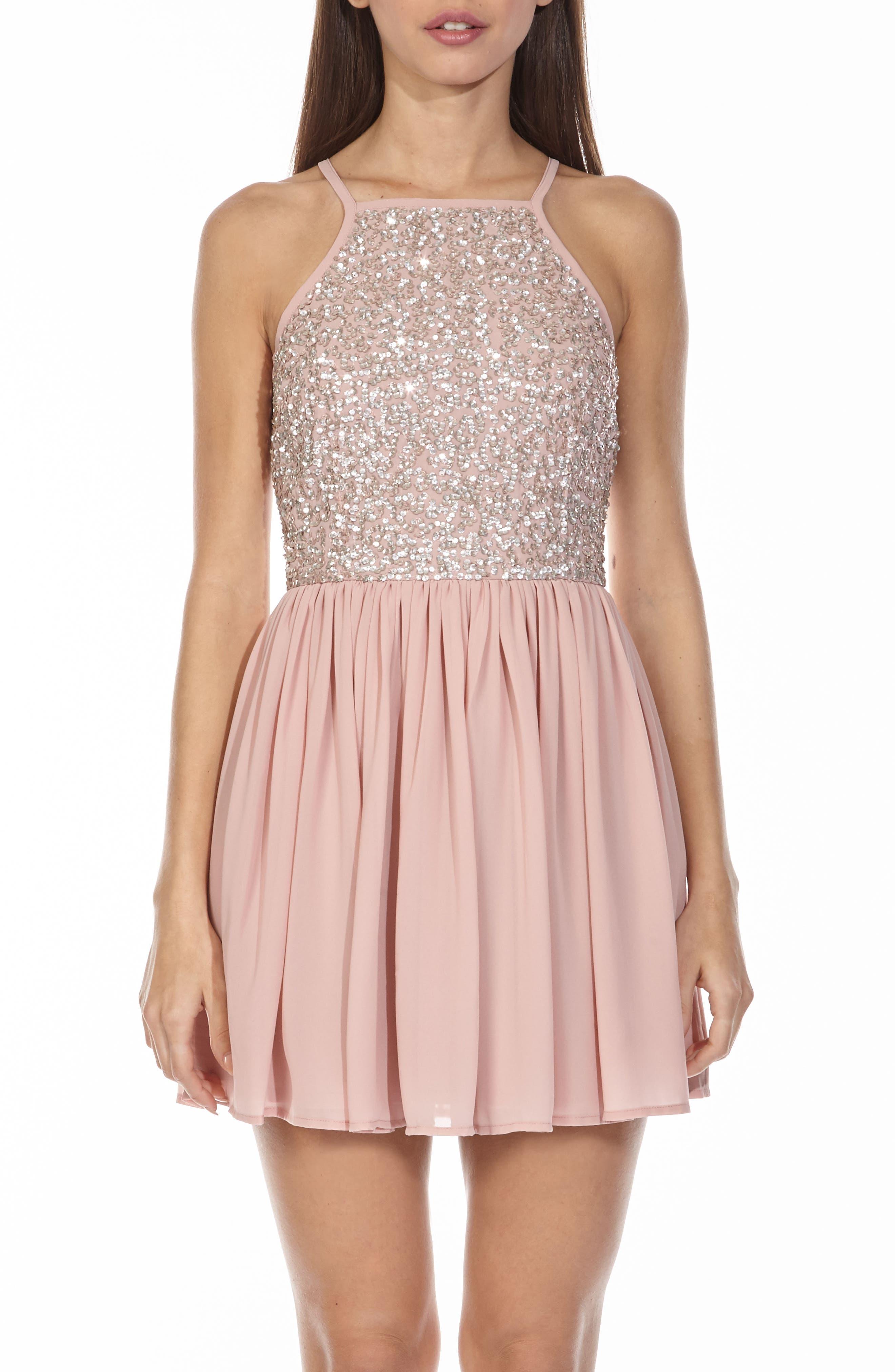 Alternate Image 4  - Lace & Beads Sprinkle Sequin Skater Dress