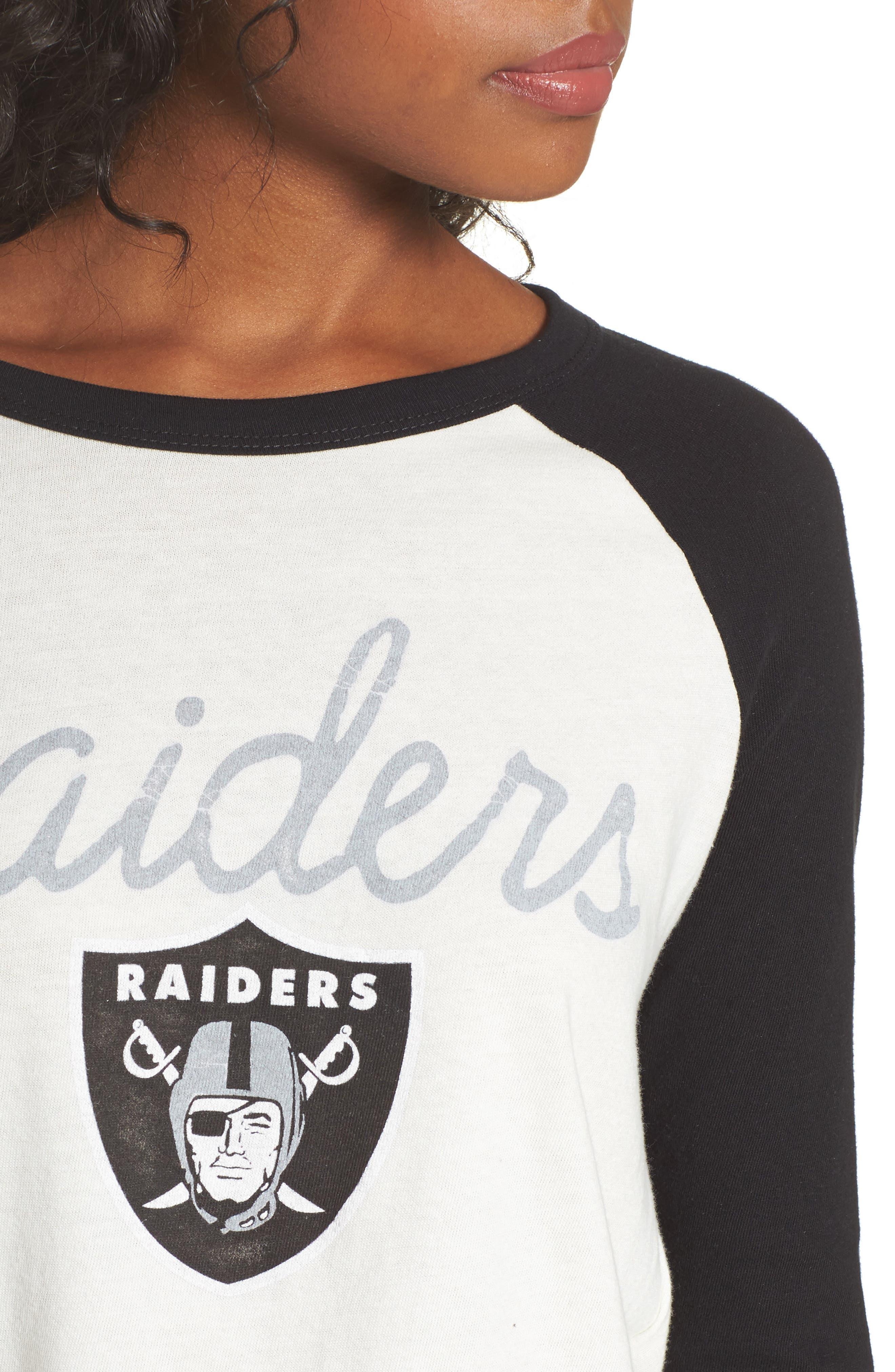 NFL Oakland Raiders Raglan Tee,                             Alternate thumbnail 4, color,                             Sugar/ True Black
