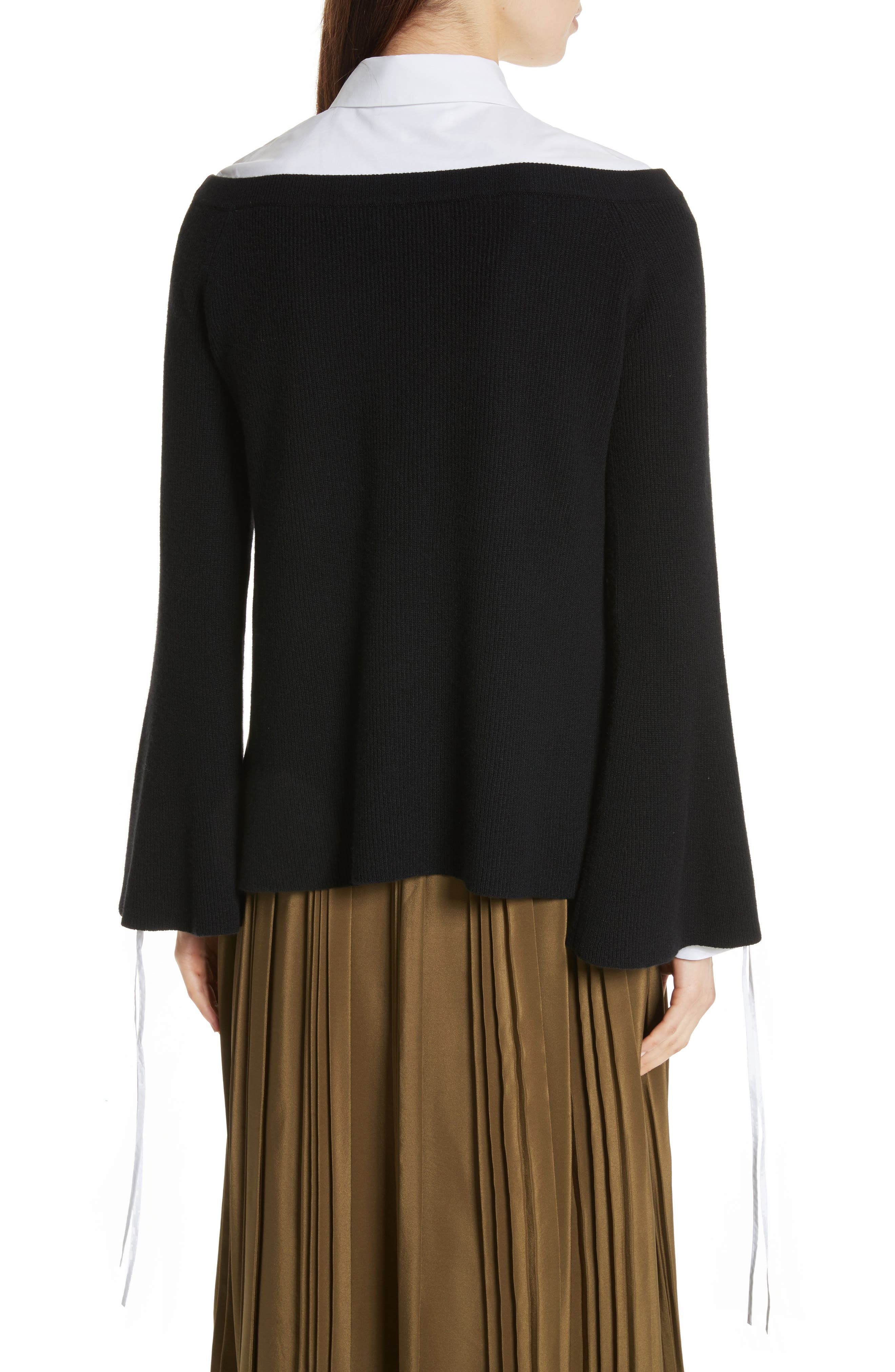 Off the Shoulder Wool & Cashmere Sweater,                             Alternate thumbnail 3, color,                             Black