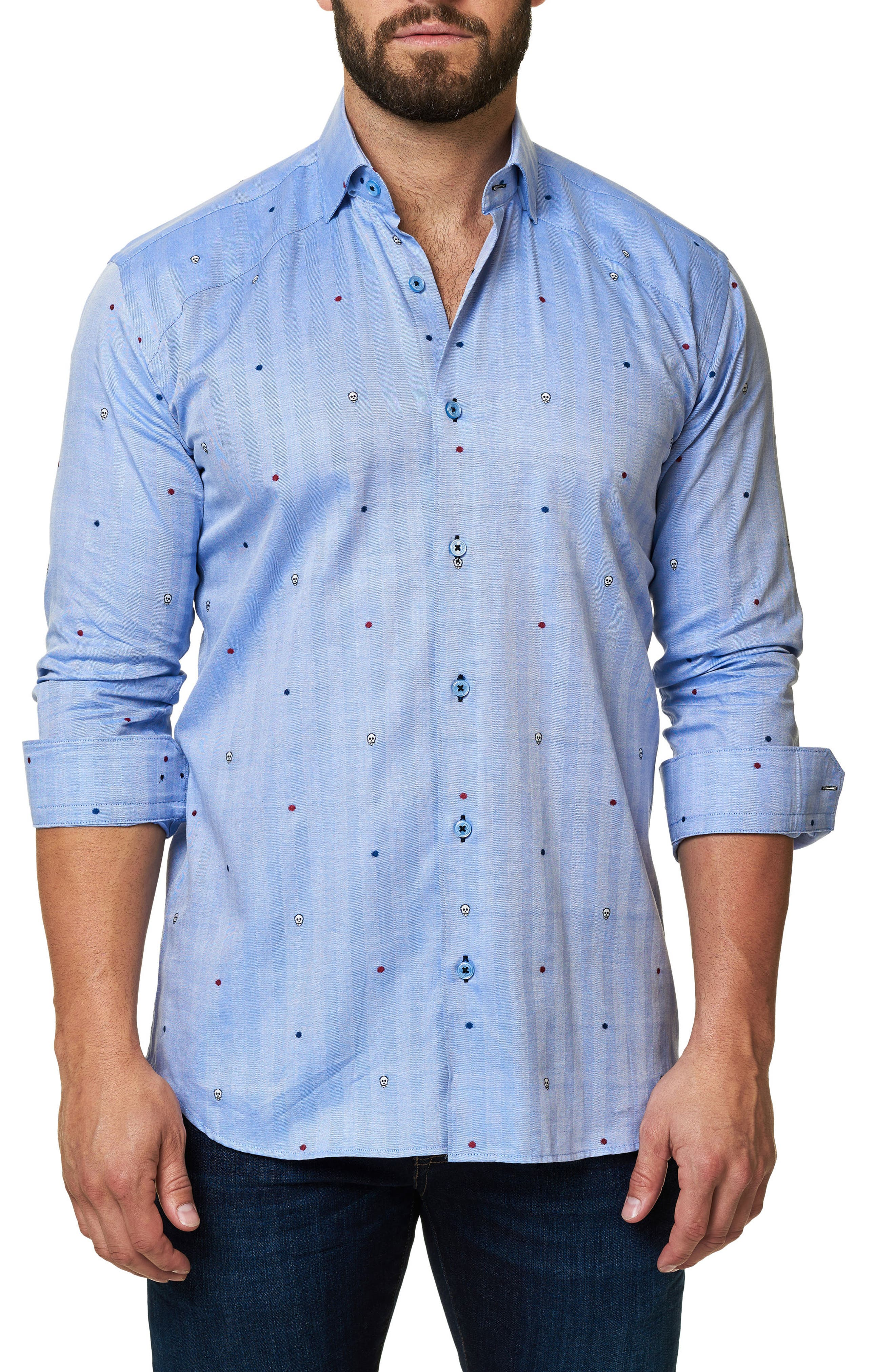 Trim Fit Embroidered Sport Shirt,                             Main thumbnail 1, color,                             Blue